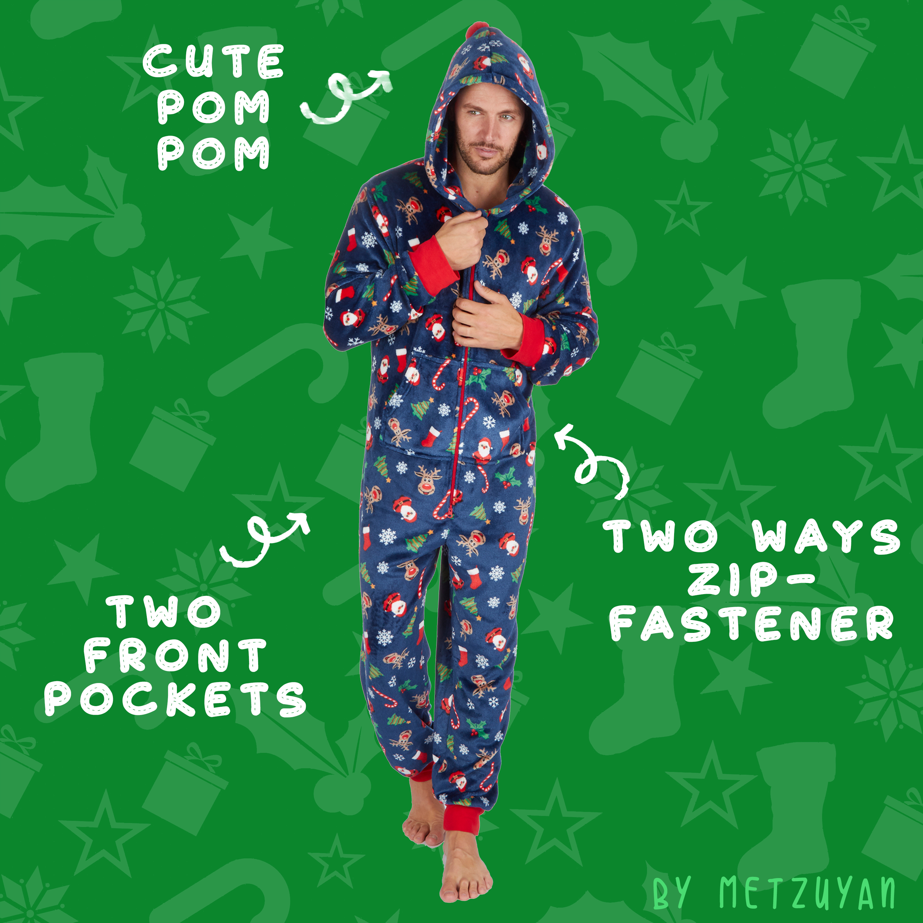 Metzuyan Mens Xmas Jumpsuit All in One Piece Christmas Novelty Hooded Festive Onezee XS S M L XL
