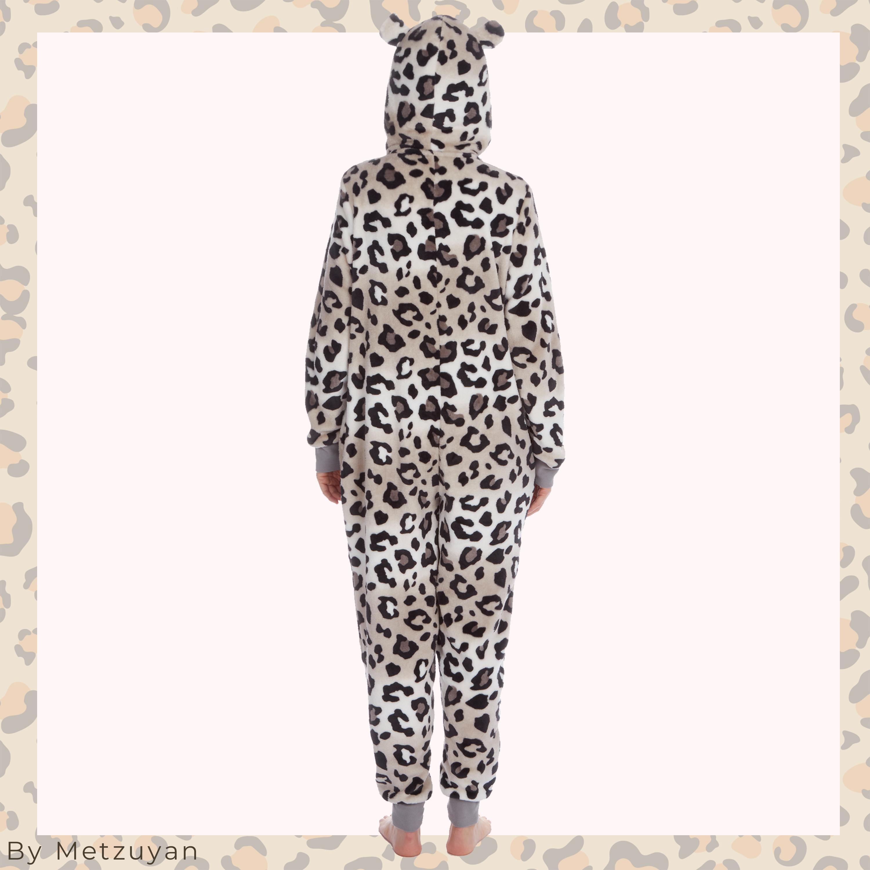 Ladies Womens Adults 1Onesie Tiger Leopard Pom Poms Ears Hood Pockets Sleepsuit