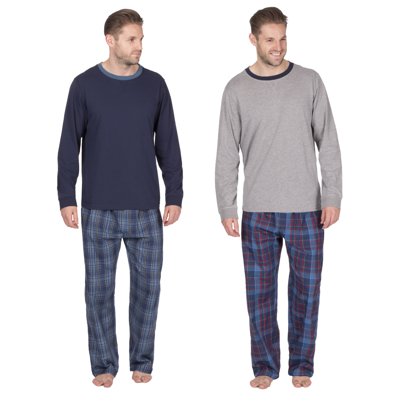 Mens Soft Long Sleeved Thermal Fleece Top Check Pant Pyjamas Set