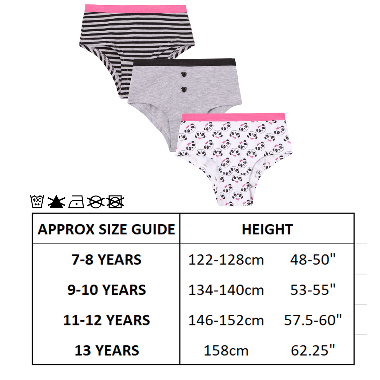 Older Girls Shortie Briefs 3 Pack Unicorn Or Panda Pattern Designs to Pick from