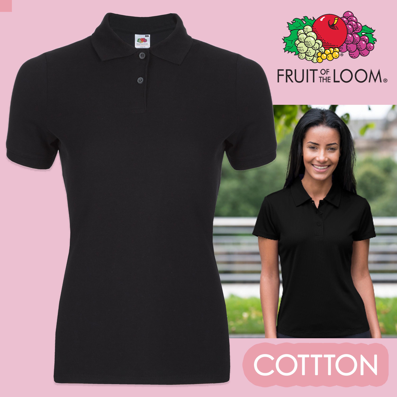 Fruit Of The Loom Ladies Polo Shirt Black Cotton Polos Womens Polo ...
