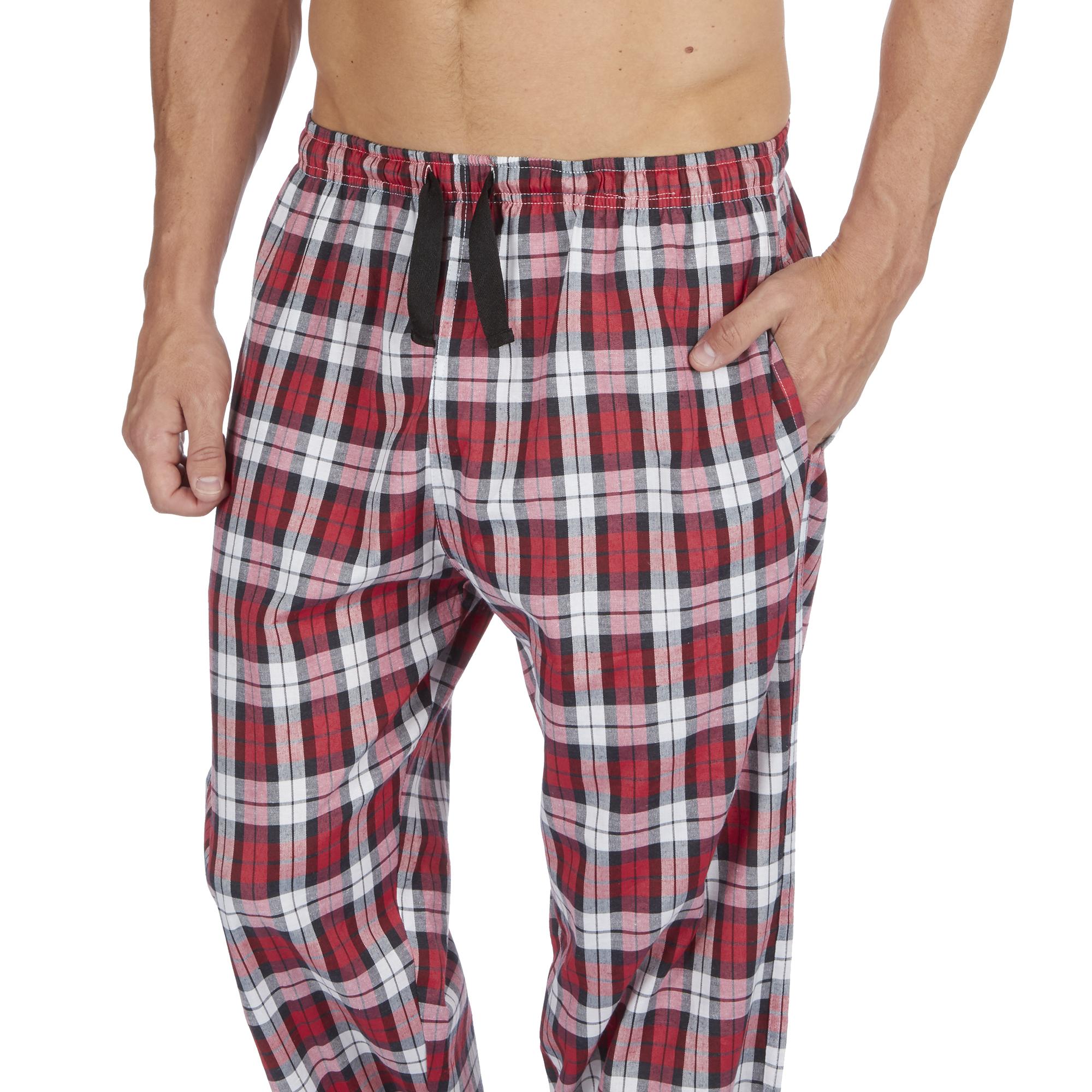 JASON JONES Mens Woven Lounge Bed Pants Pyjama Bottoms Checked Trousers Twill PJ Cotton Blend Comfortable Elasticated Waist Nightwear S-XXL