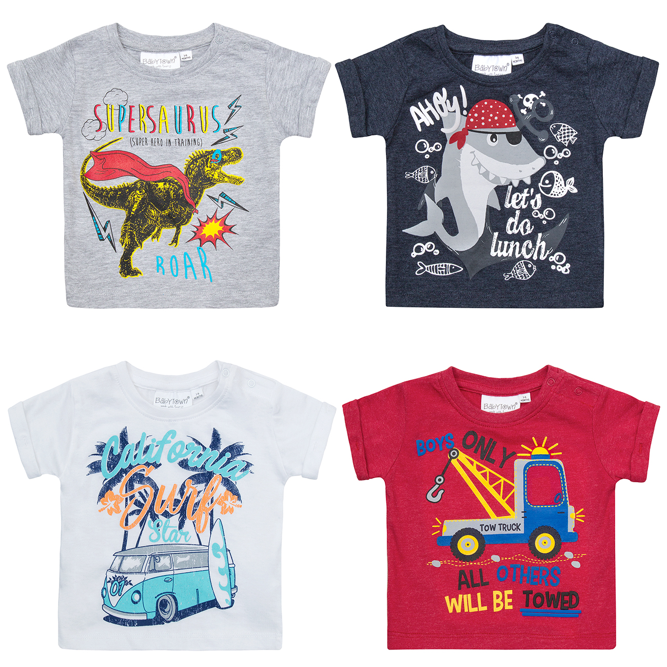 Metzuyan 3 Pack Newborn Baby Boys Cartoon Design T-Shirt Cotton Rich Tee Shirt Dino Shark Truck Summer 3-24 Months