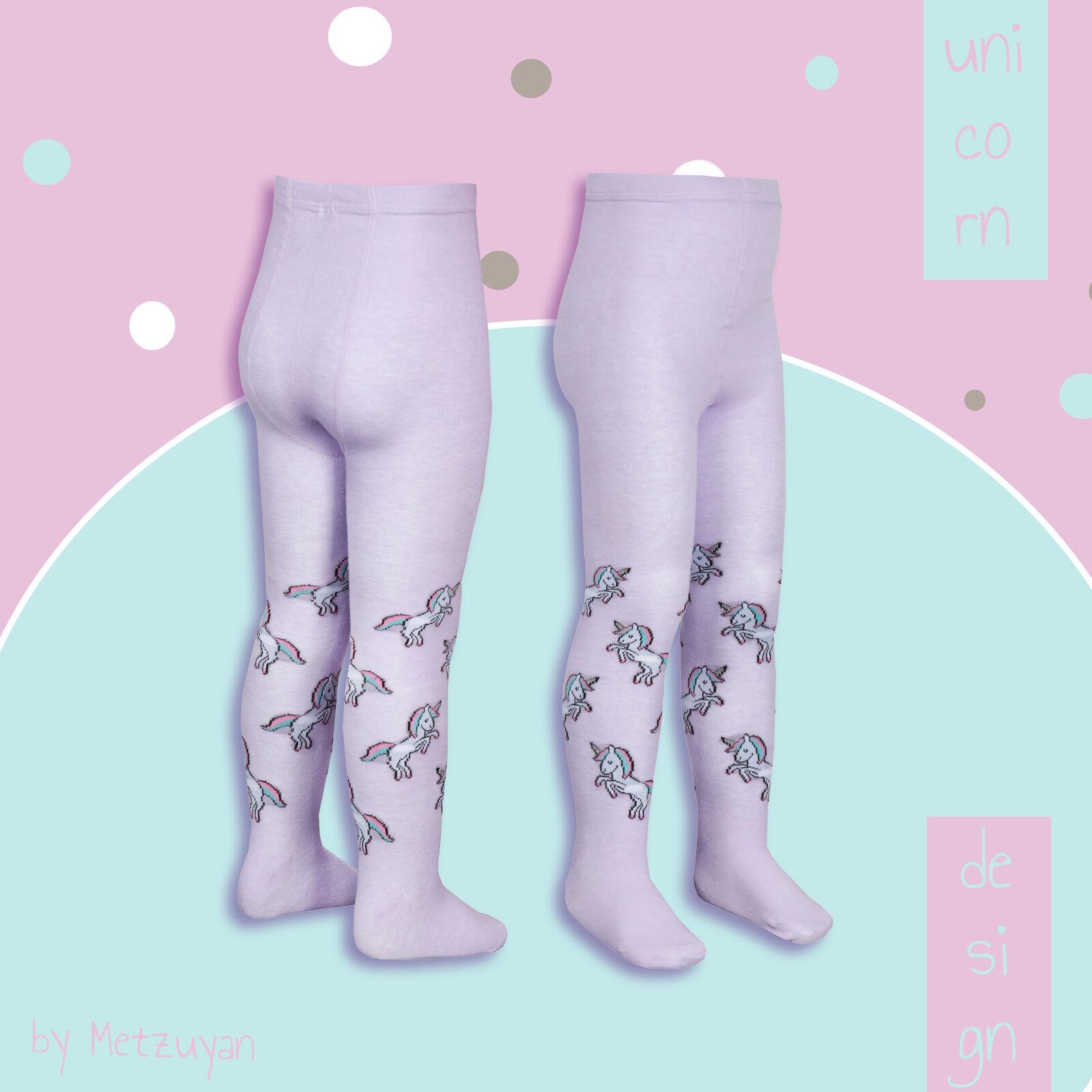 2 Pack Girls Tights Cotton Rich Novelty Pattern Unicorn Thick Warm Uniform School Size 2-8 Years