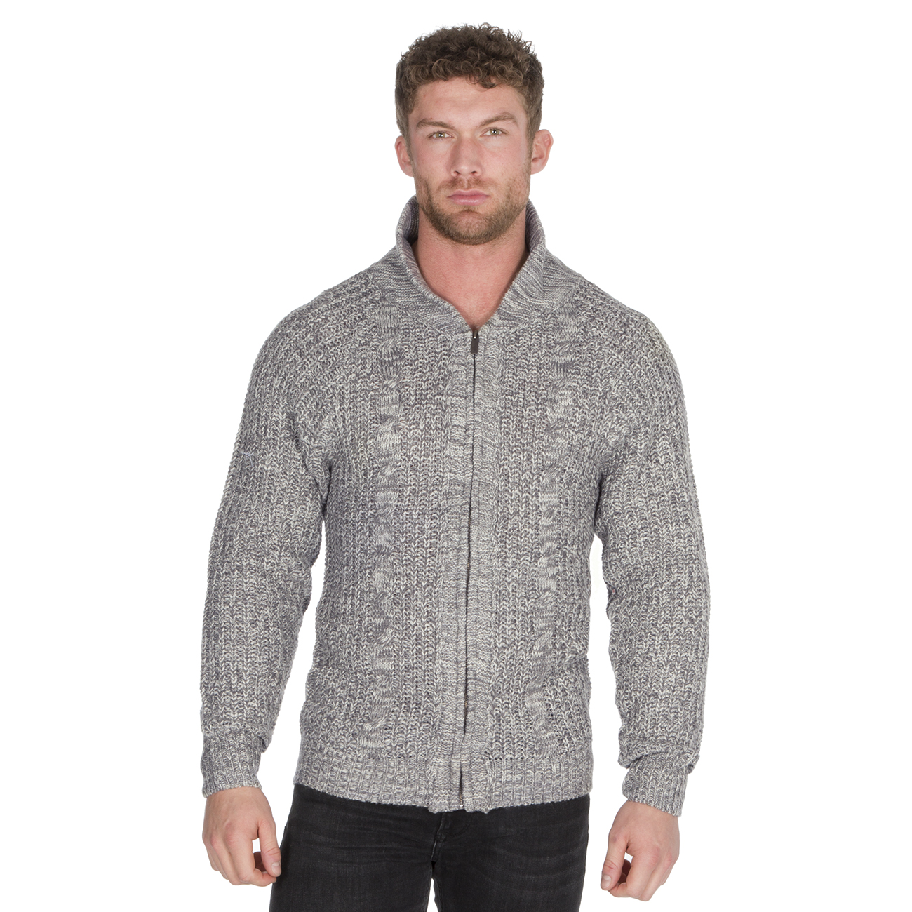Homme-Zip-Cardigan-Gris-Bleu-marine-Full-Zip-Up-Stand-collier-cable-tricot-pull-UK miniature 3