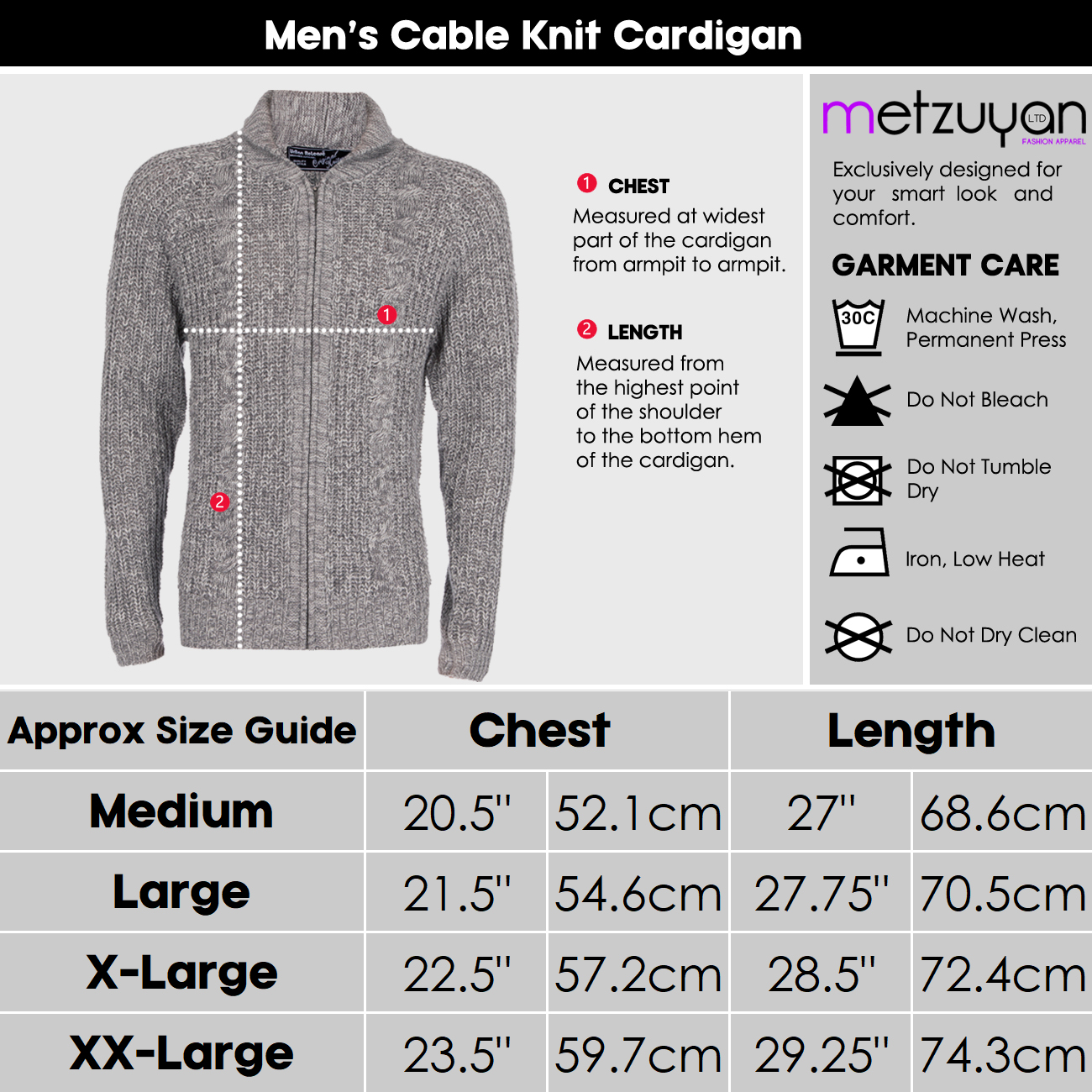 Homme-Zip-Cardigan-Gris-Bleu-marine-Full-Zip-Up-Stand-collier-cable-tricot-pull-UK miniature 4