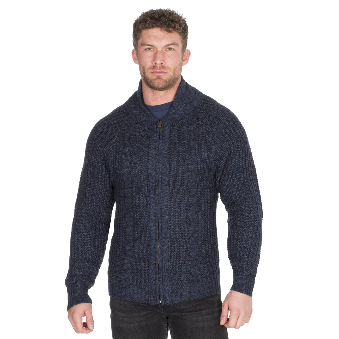 Homme-Zip-Cardigan-Gris-Bleu-marine-Full-Zip-Up-Stand-collier-cable-tricot-pull-UK miniature 6