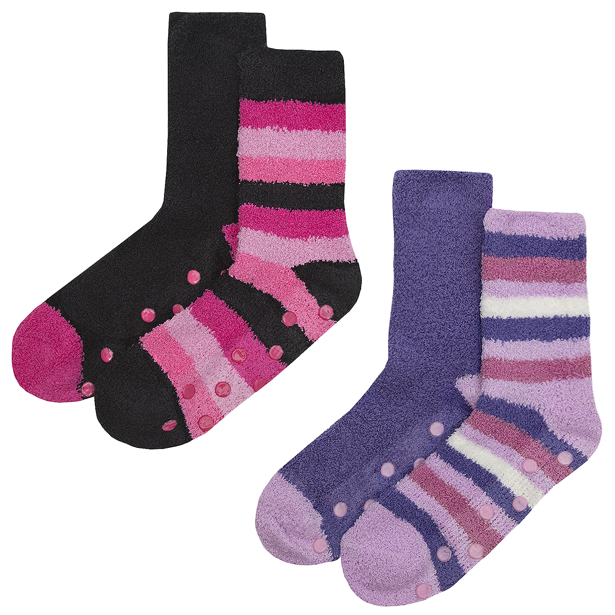 Ladies Womens Lounge Socks Cosy 4 Pairs Grippers Stripe Non Slip Warm Winter