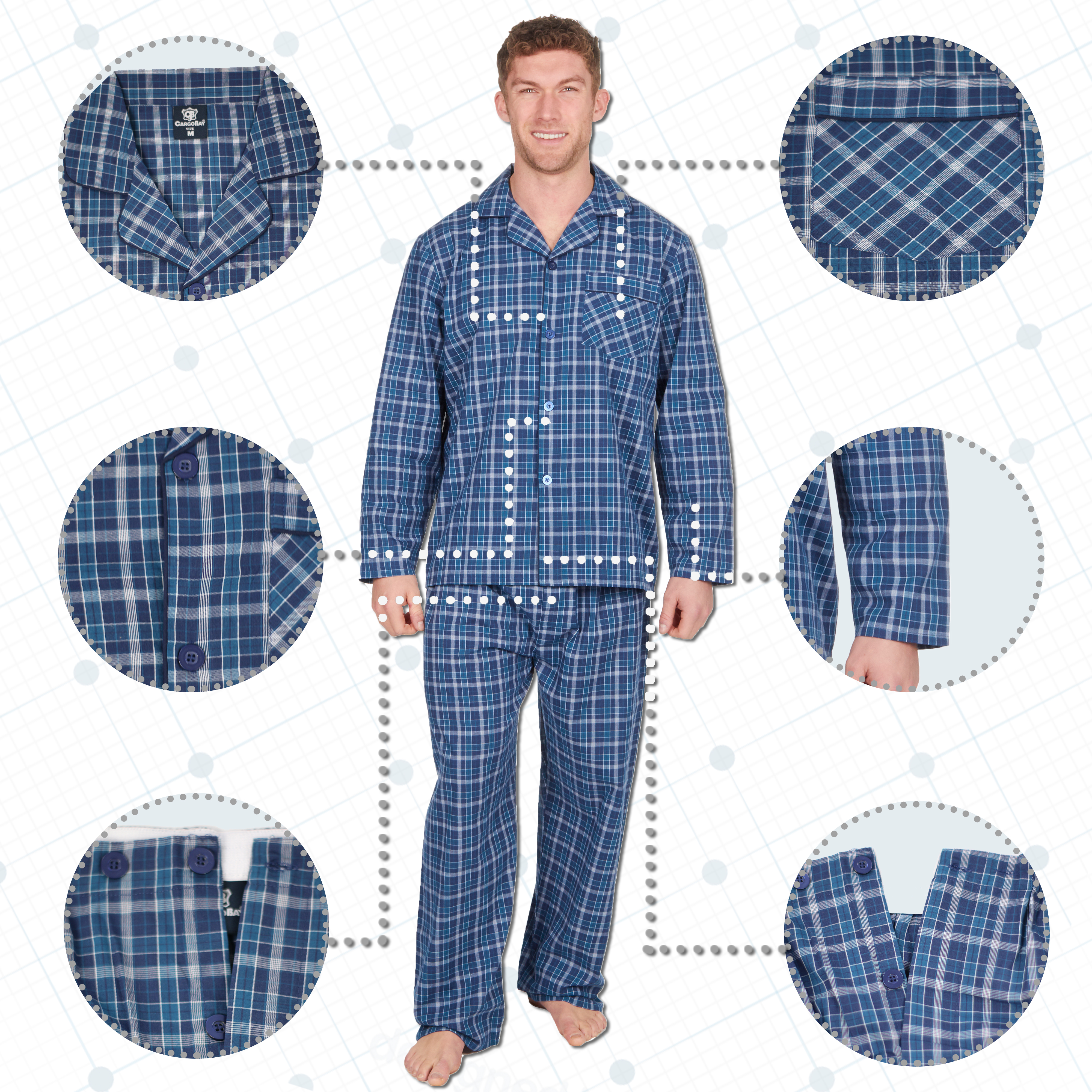 Mens Traditional Spotted Button Up Pyjamas BIG SIZES AVAILABLE