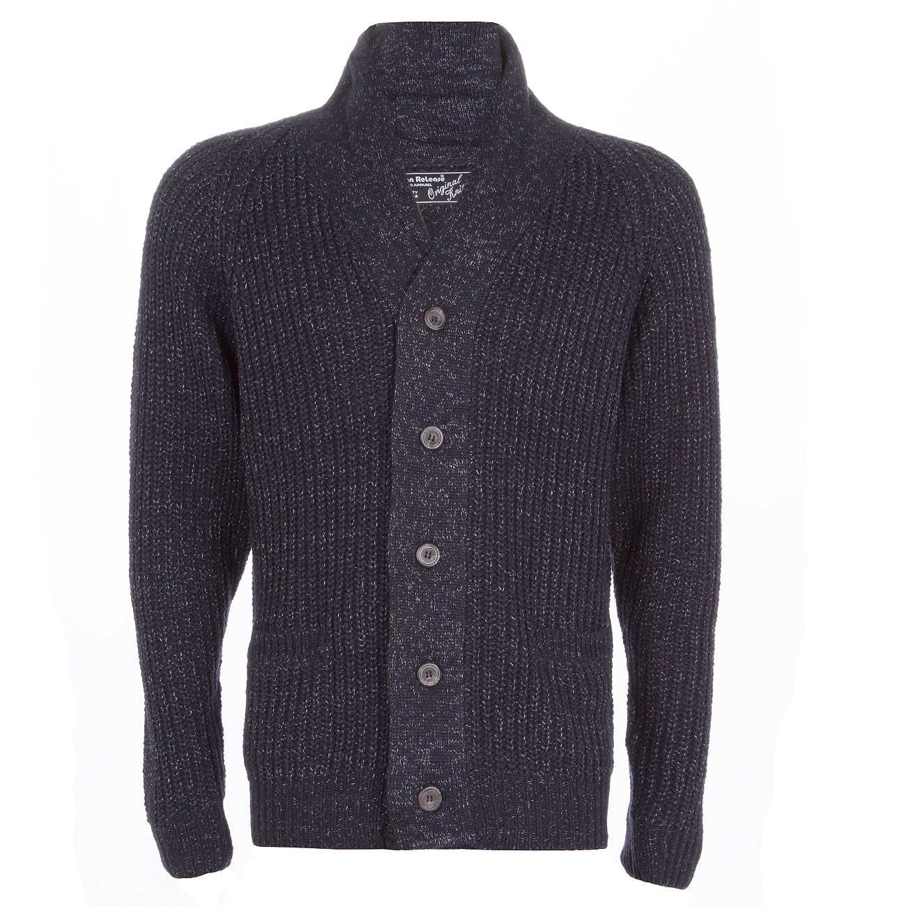 Homme-Tricot-Cardigan-boutonne-col-chale-Pull-Knitwear-Travail-Pull-UK miniature 3