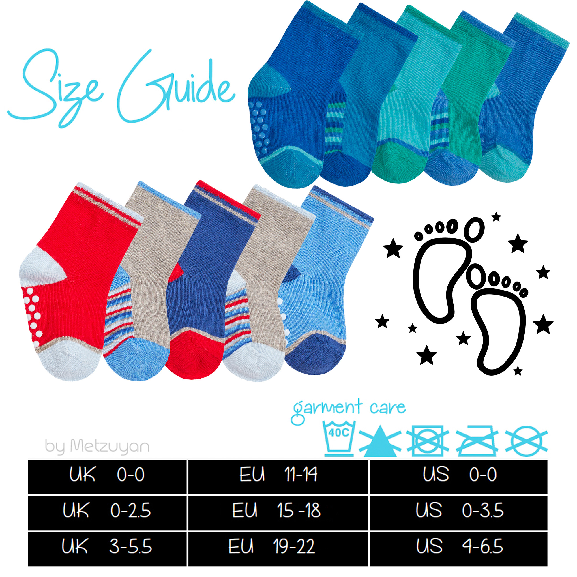 With Non Skid Grippers 10 Pair Multipack Baby Boys Heel Toe Cotton Rich Socks