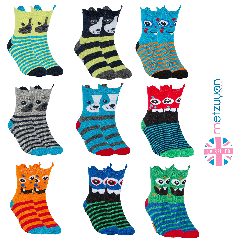 Metzuyan Baby Boys Novelty Print Ankle Cotton Rich 9 Pairs Multibuy Socks