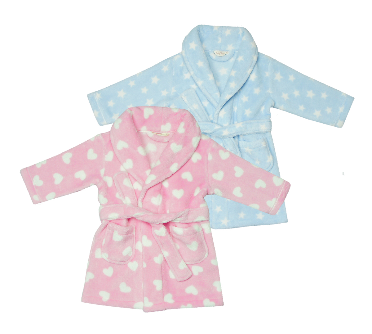 New Pink Hearts Snuggle Soft Thick Fleece Dressing Gown Bath Robe Hooded Warm
