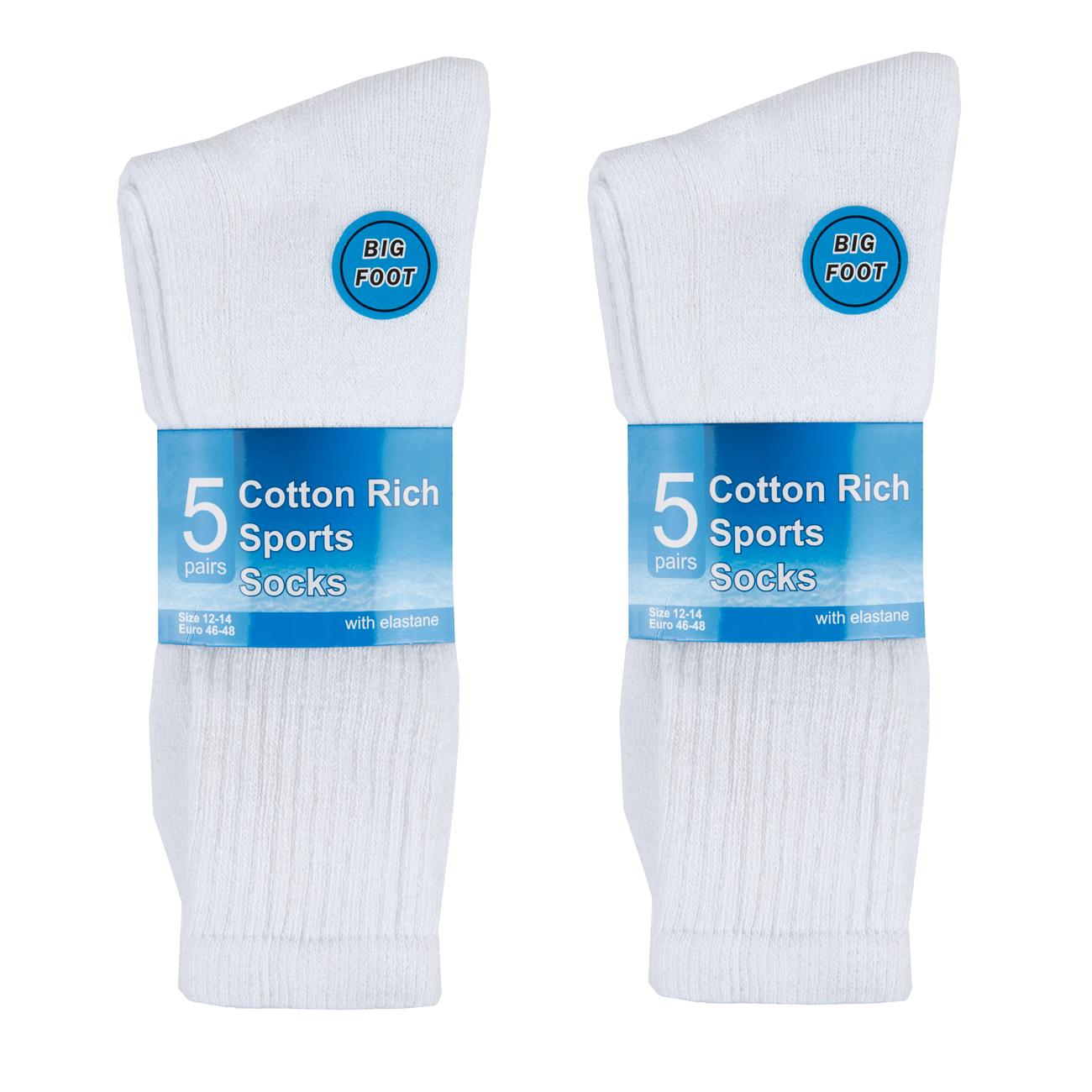 METZUYAN-Mens-10-Pairs-Sports-Socks-Cotton-Rich-Plain-Black-White-Grey-Size-6-11 miniatura 22