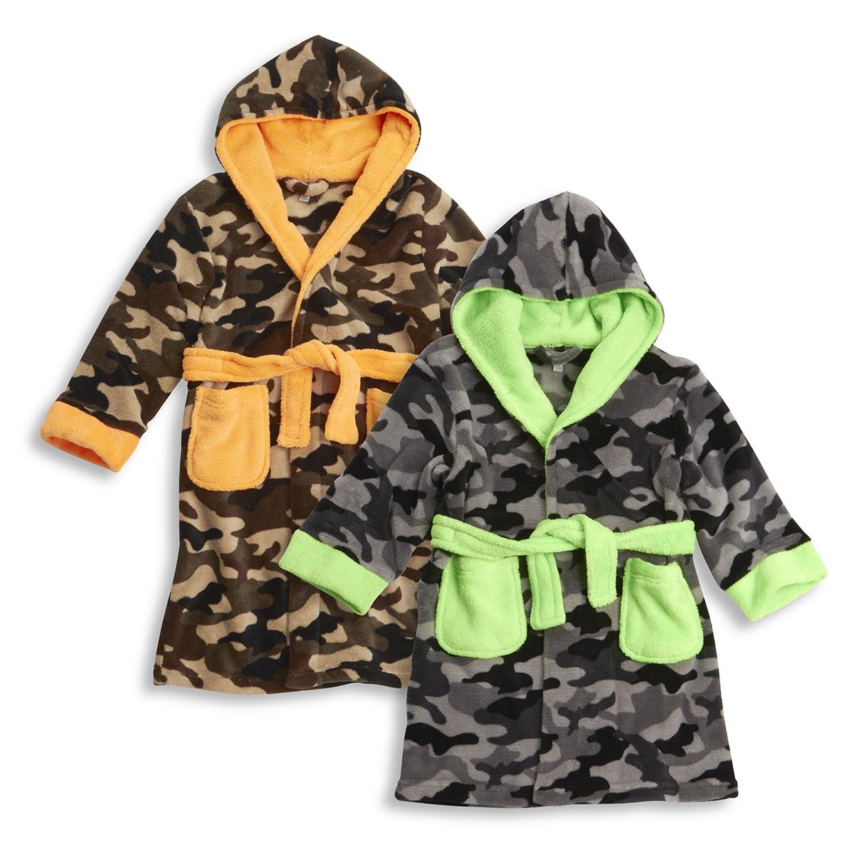 MiniKidz Childrens Dinosaur Camo Print Fleece Dressing Gown