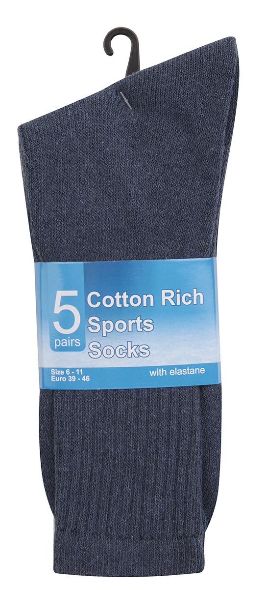 METZUYAN-Mens-10-Pairs-Sports-Socks-Cotton-Rich-Plain-Black-White-Grey-Size-6-11 miniatura 7