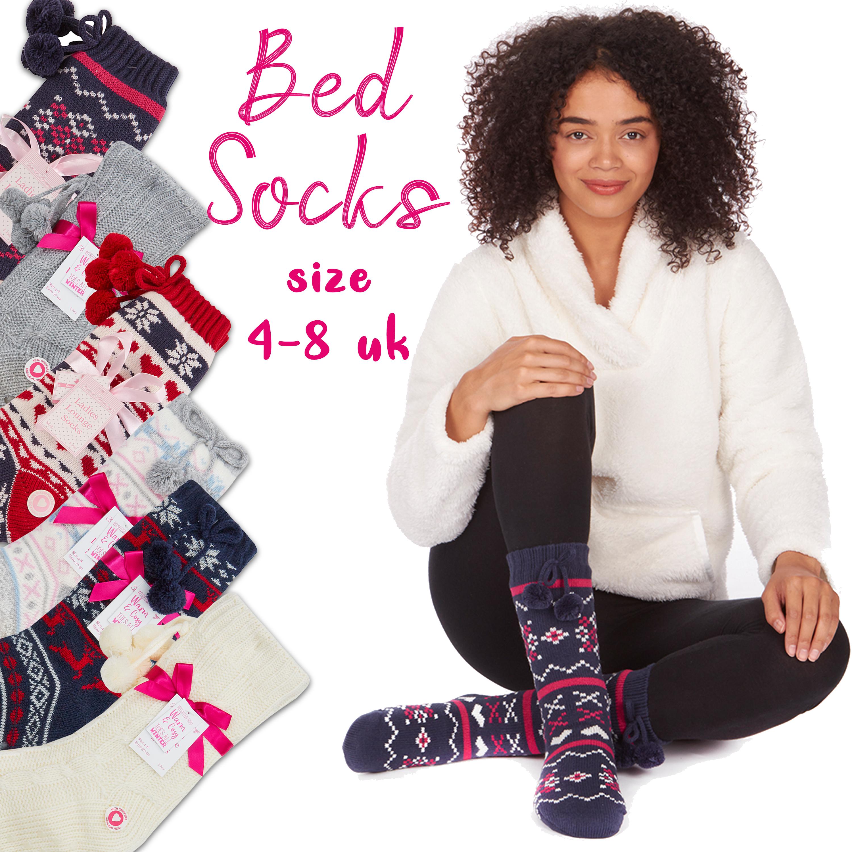Womens Ladies Fair-Isle Thermal Lounge Cosy Chunky Knit Slipper Socks Gripper