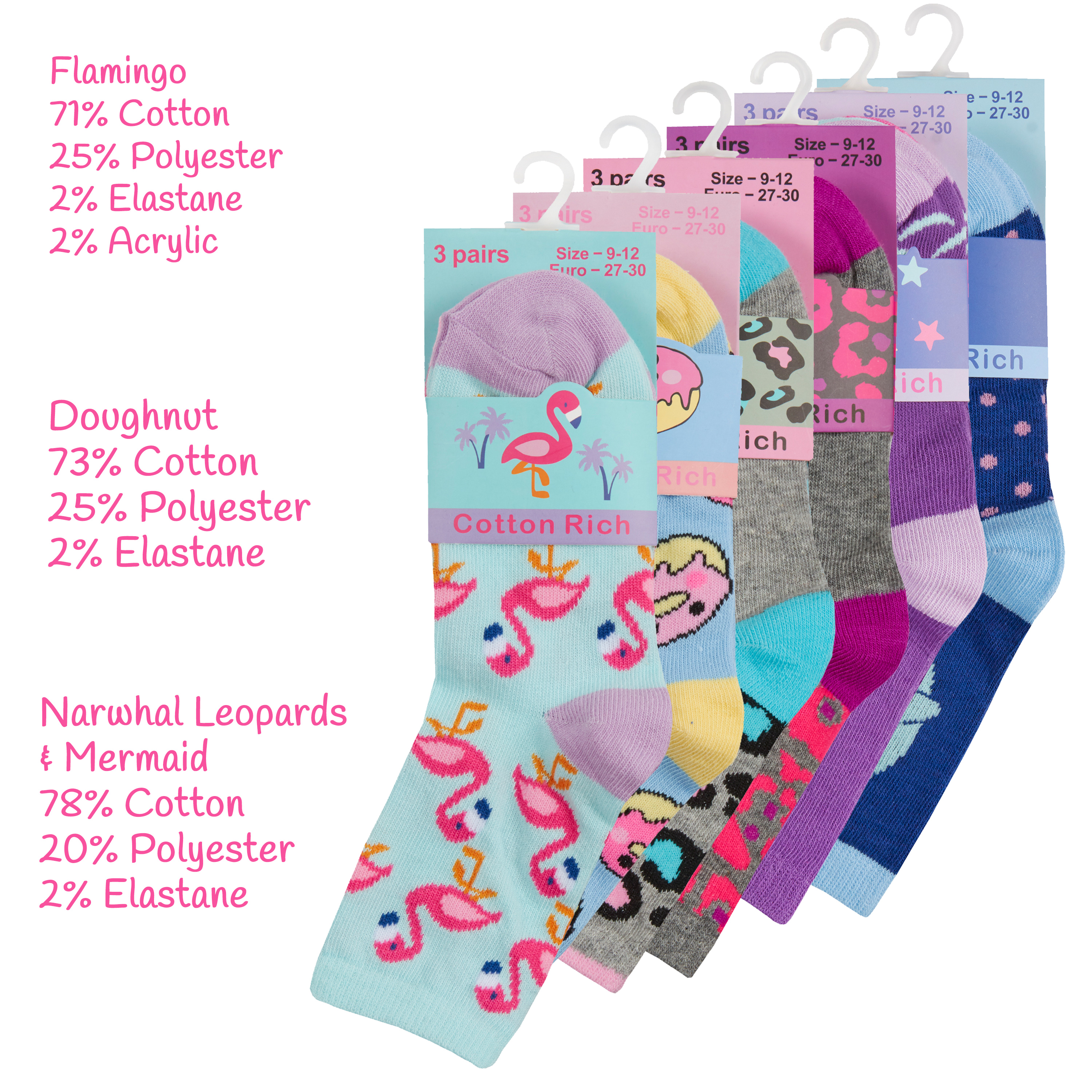 Unicorn Floral Hearts Character 9 /& 18 Pair Multipack Girls Novelty Cotton Rich Crew Socks