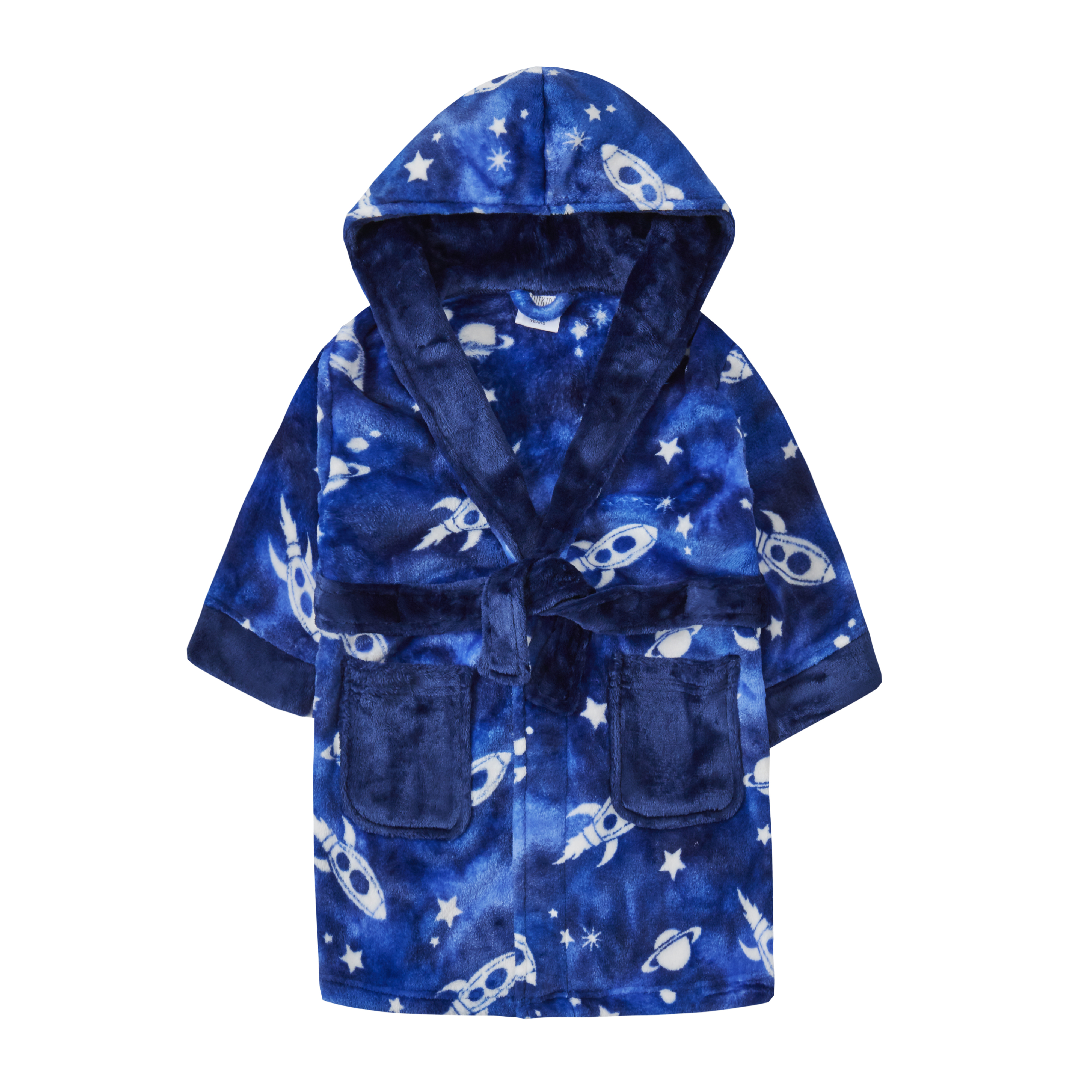 Boys//Childrens Fleece Game Hooded Robe//Dressing Gown Blue
