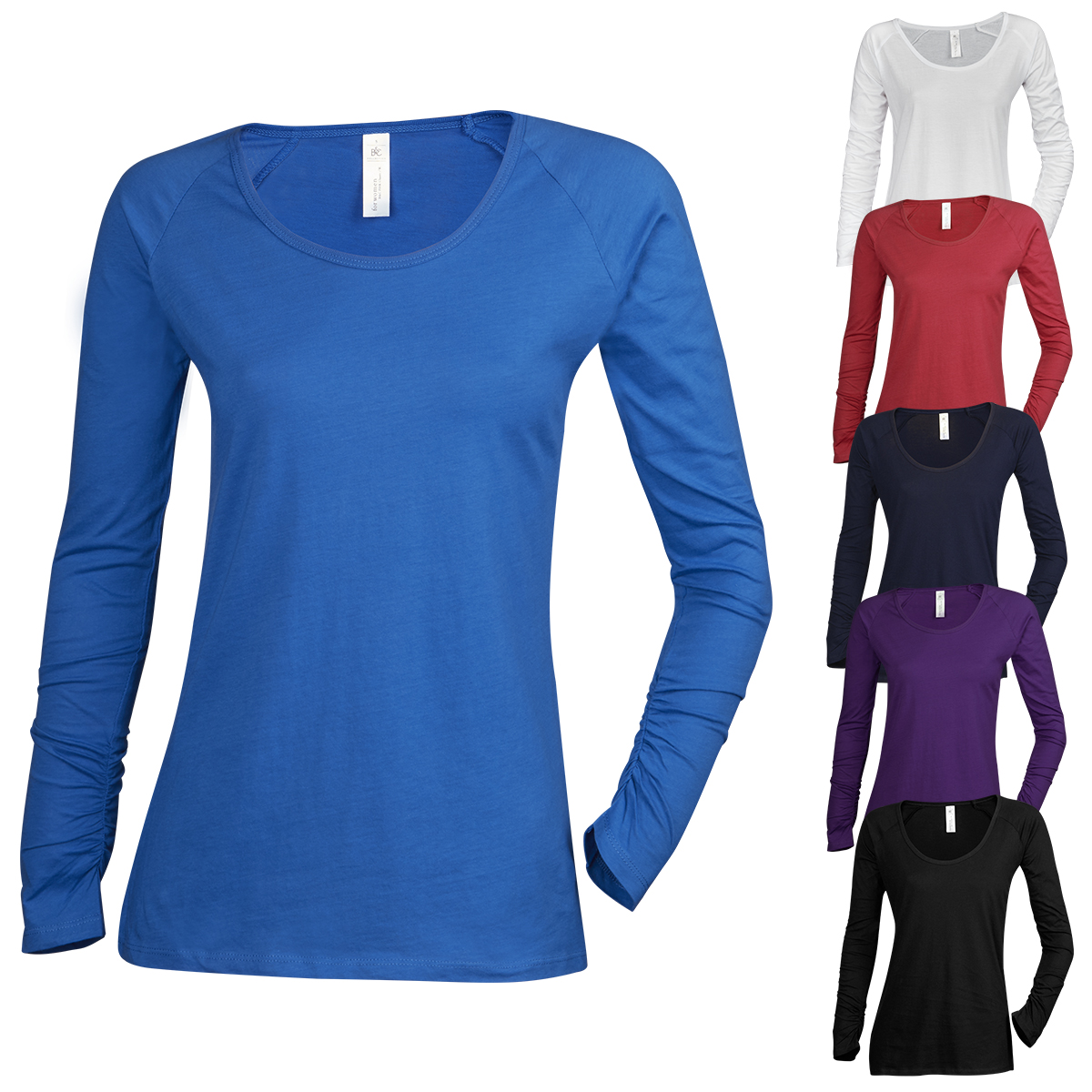 Womens Ladies T-Shirt Top Plain Sleeve Scoop Neck Tee New Size 100/% Cotton