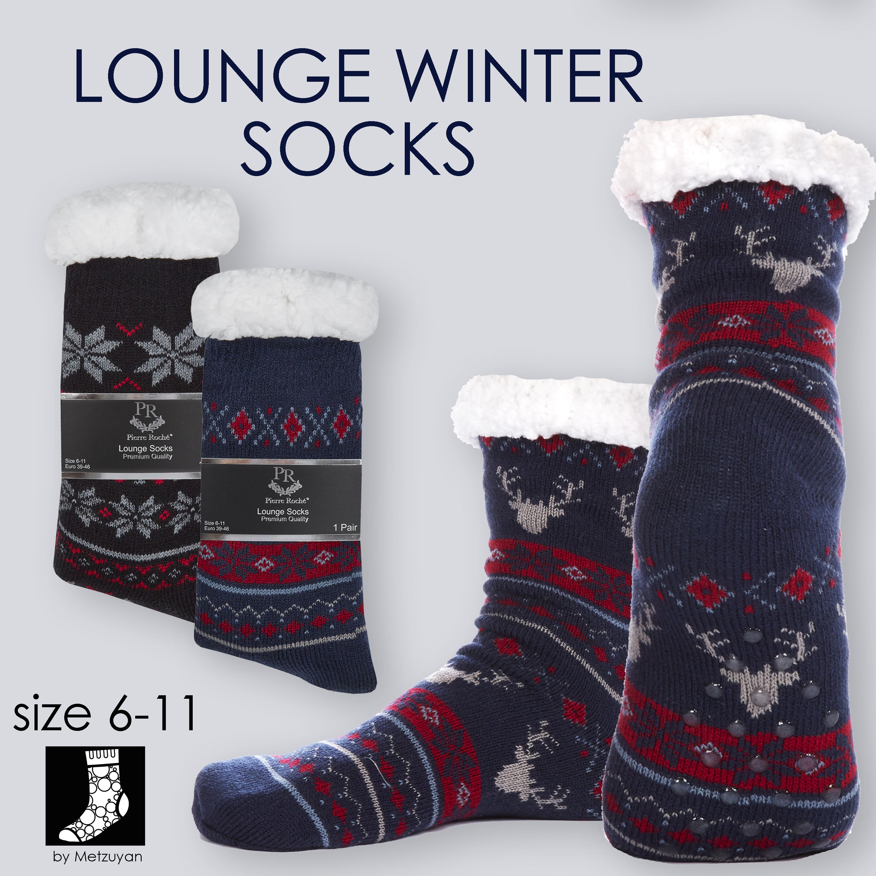 2 Pairs Dad and Son Set Lounge Chunky Slippers Socks Gift Christmas Knit UK