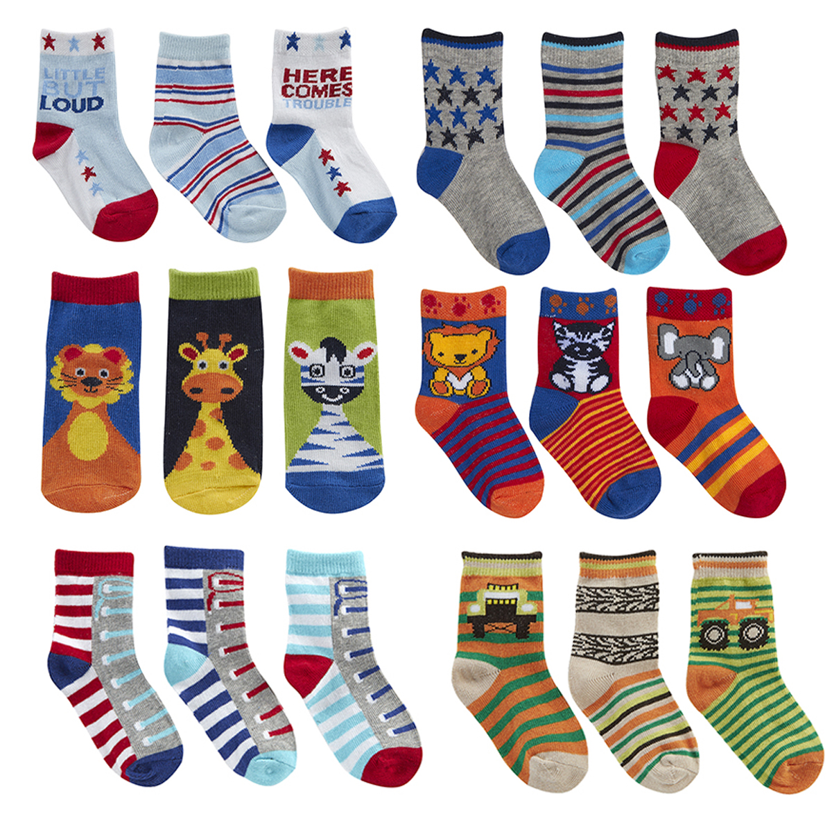 6 Pairs Baby Babies Girls Design Socks Cotton Rich Fun Animals Cute By TickTock
