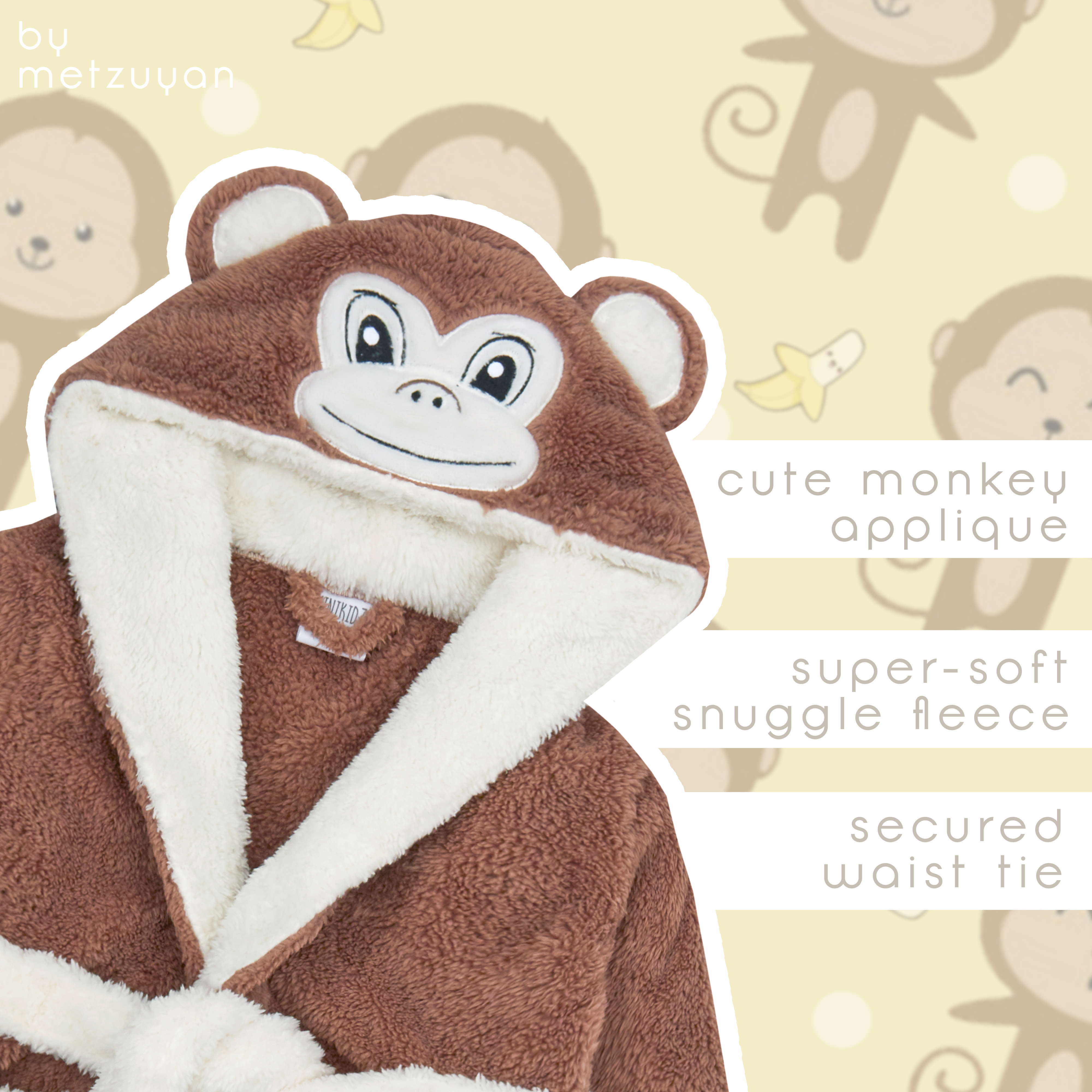 Robe ~ 6-24 Months Babies Novelty Snuggle Fleece Monkey Dressing Gown