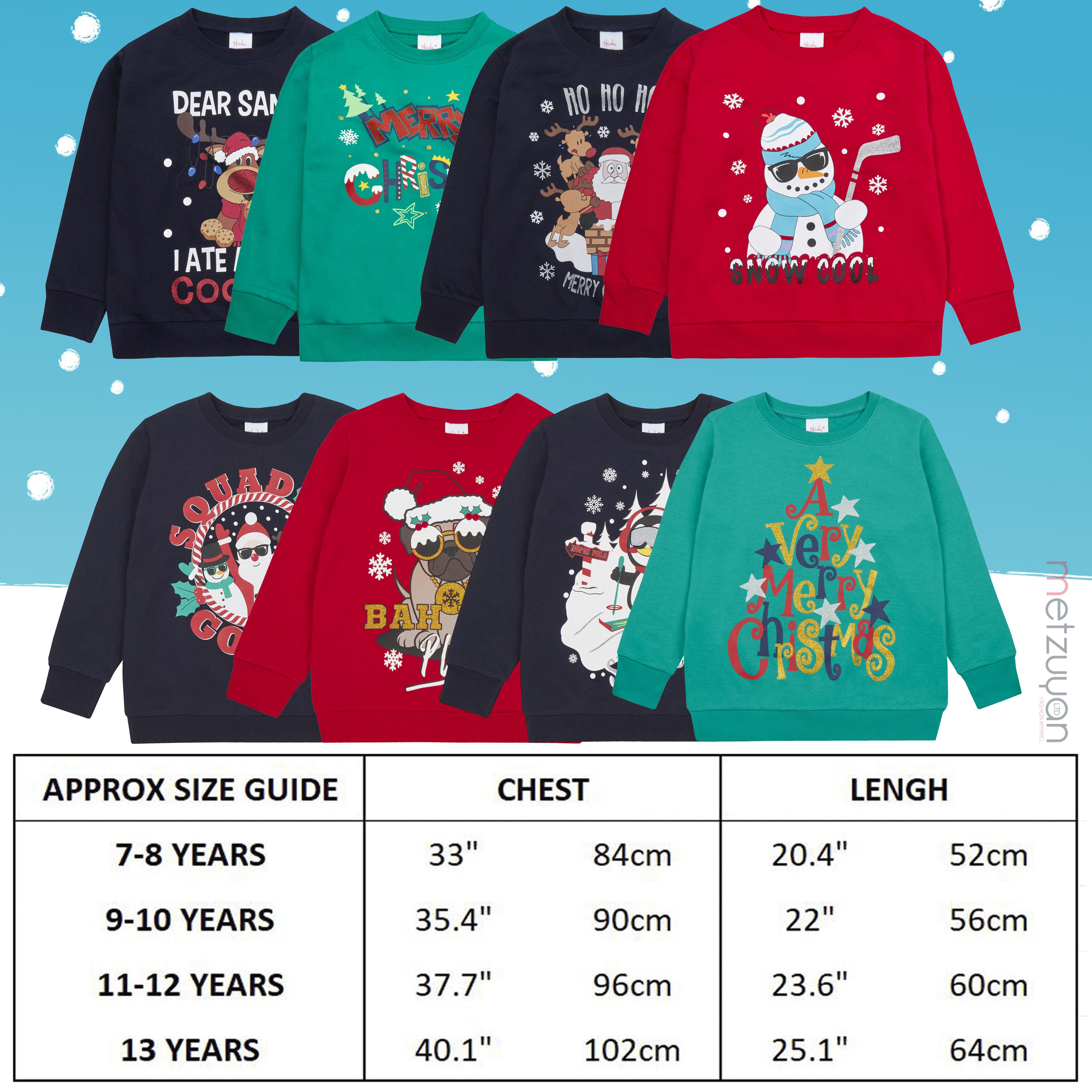 Enfants-Garcons-Filles-Noel-Noel-Pull-Sweat-shirt-Carlin-Glitter-chaud miniature 17