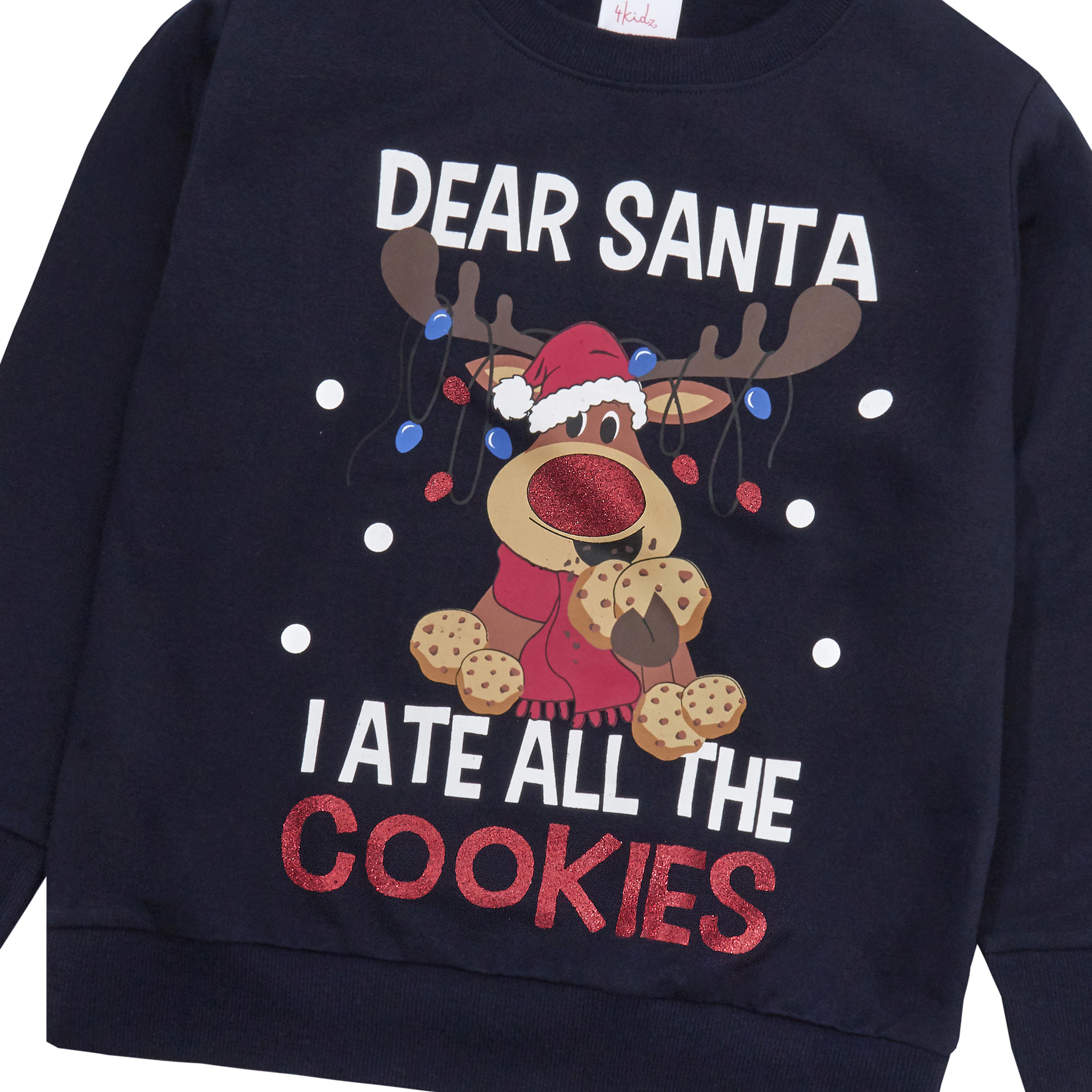Enfants-Garcons-Filles-Noel-Noel-Pull-Sweat-shirt-Carlin-Glitter-chaud miniature 16
