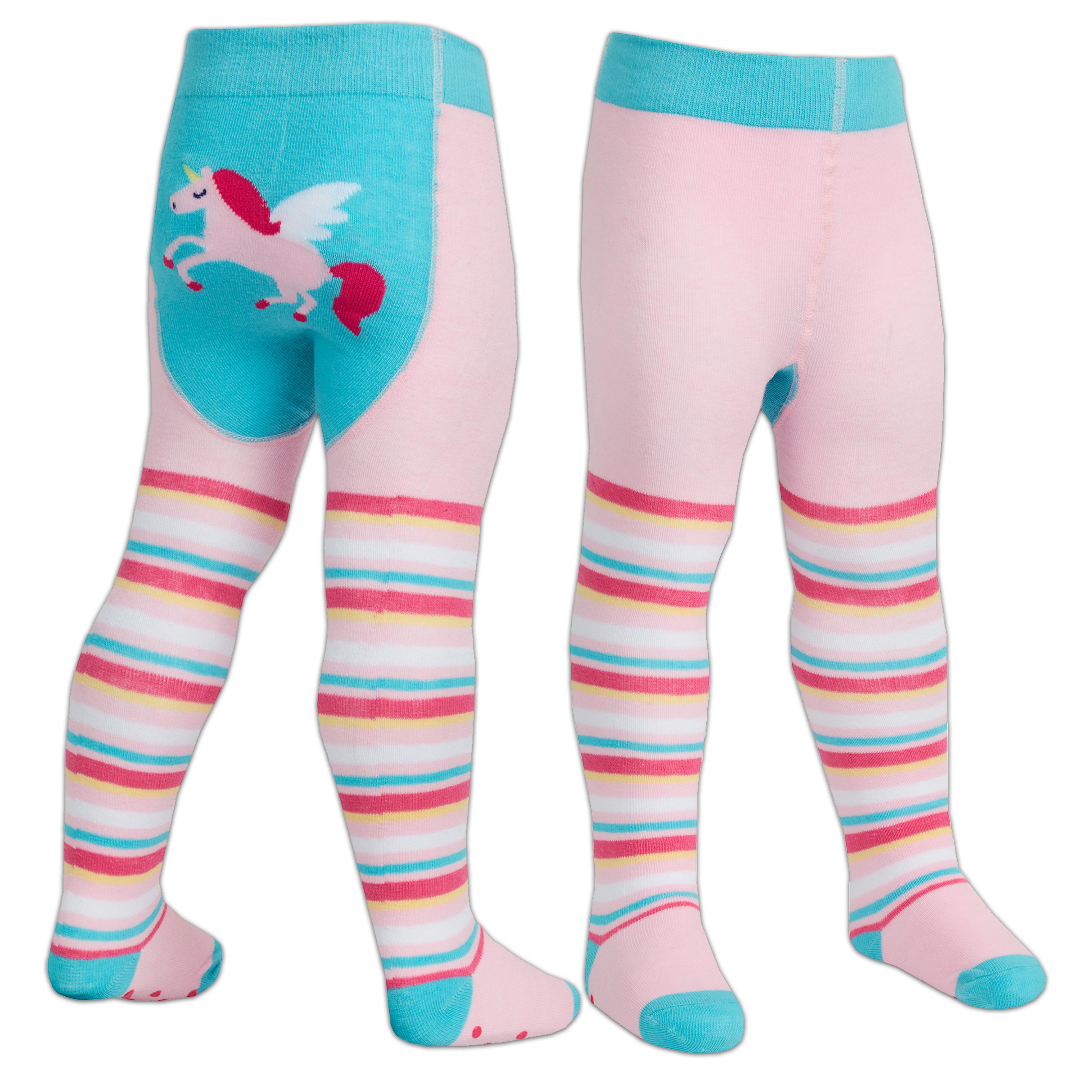1 or 2 Pairs Baby Girls Tights Cotton Rich Anti Slip Grip Unicorn Ladybird 0-24M