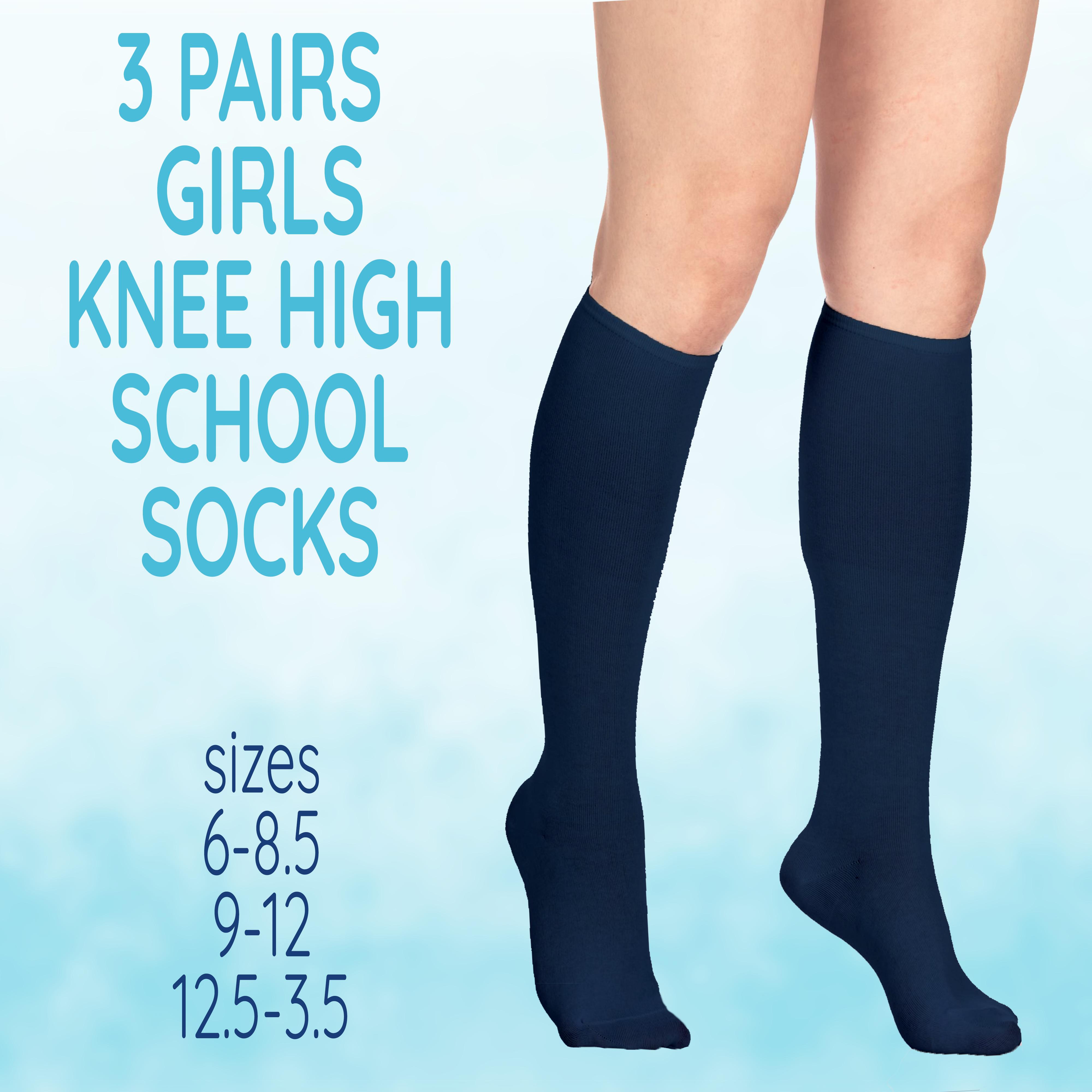 Girls Ladies Kids Back To School Plain Knee High Long Socks Cotton Uniform UK