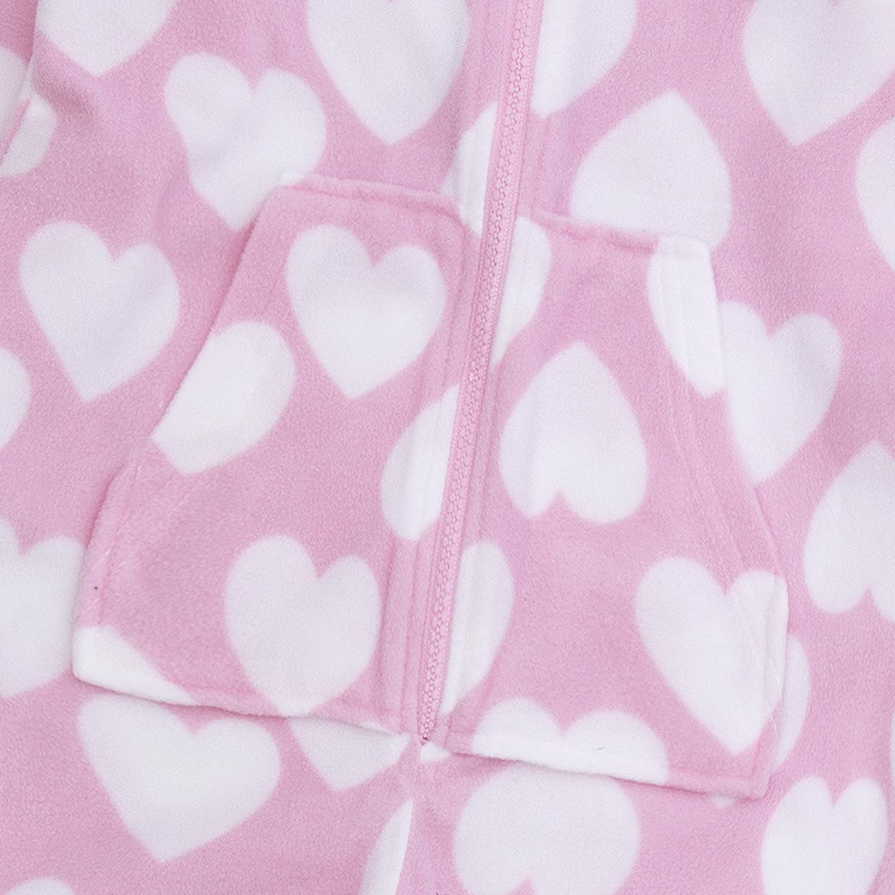 Onezee Girls Kids Hooded All-In-One Jumpsuit Heart Print Snuggle Microfleece