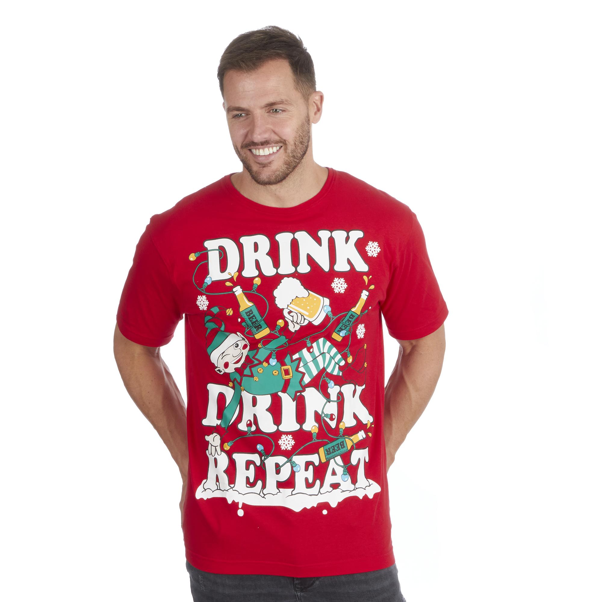 Ladies Xmas Printed Cotton Rich Santa Funky Naughty Santa T-Shirt Top Red S-XXL