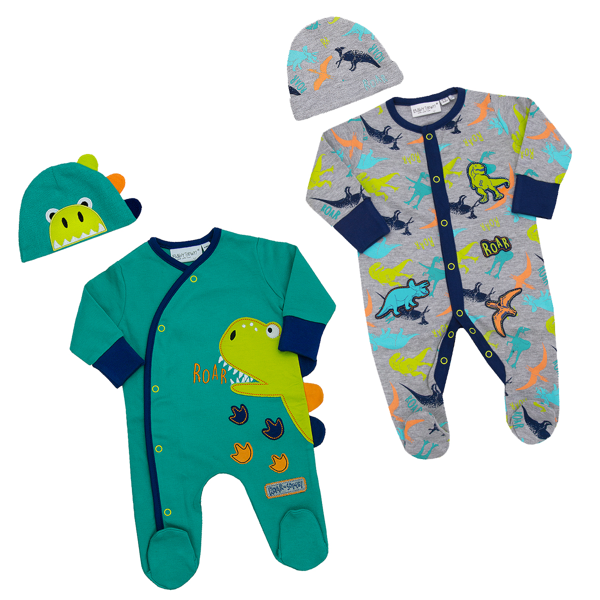 Babytown Baby Boys Themed 2 Piece Sleepsuit with Scratch Mitts