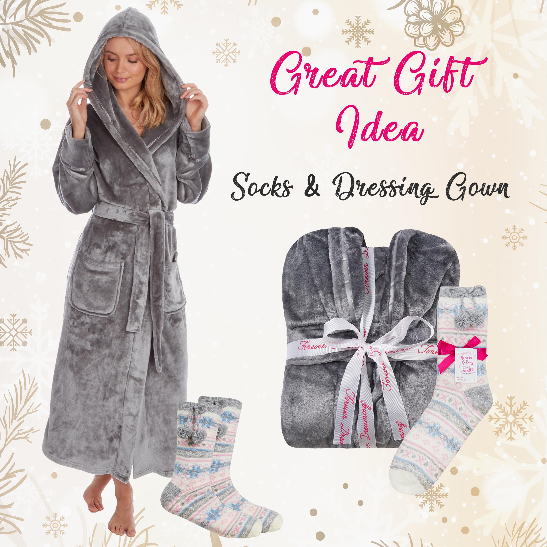 Ladies Luxury Plush Shimmer Fleece Dressing Gown Bathrobe