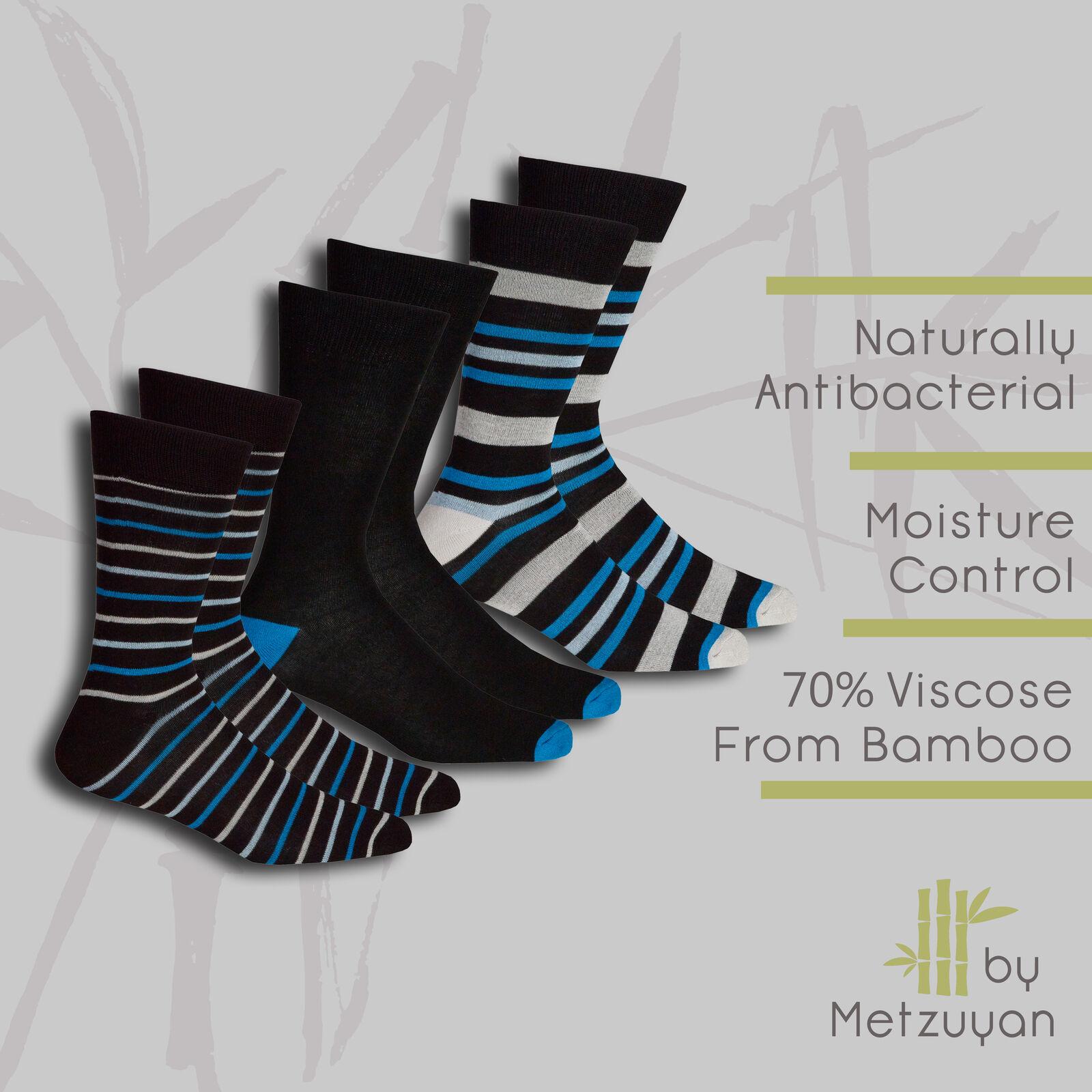 Men/'s Luxury Plain Black Bamboo Super Soft Anti Bacterial Socks Size 6-11
