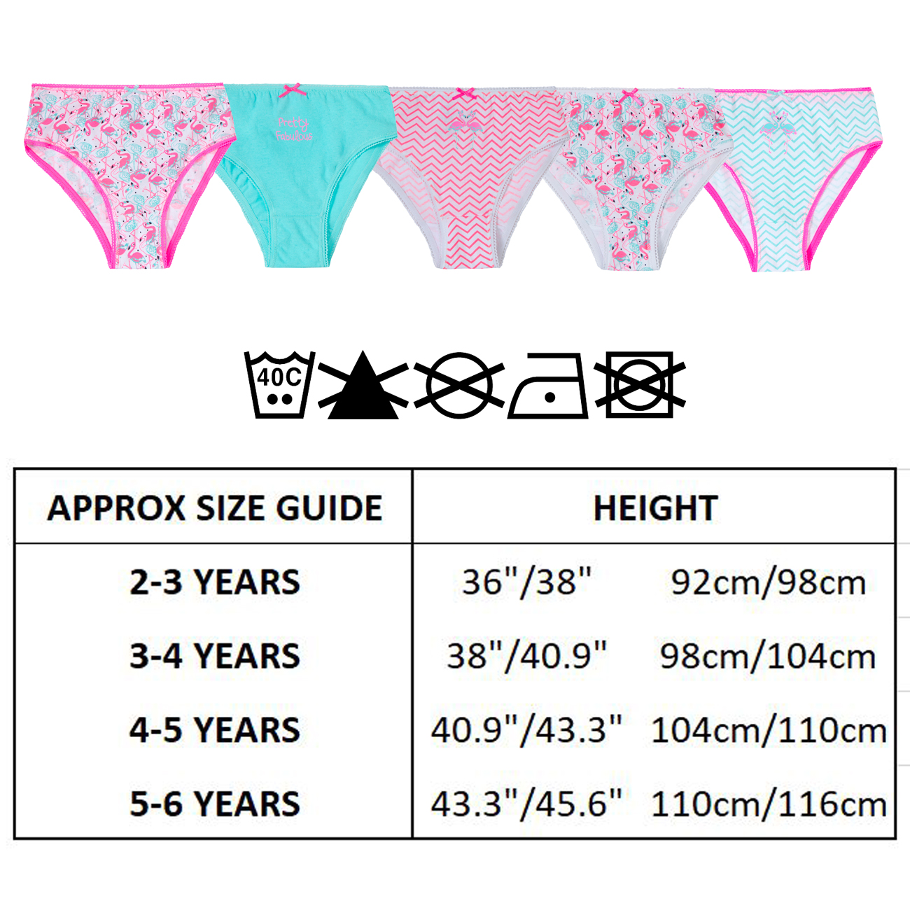 5-6 Years, Fruity Girls Five Pack Pants Briefs Knickers Underwear Three Styles 2-3 Up to 13 Years