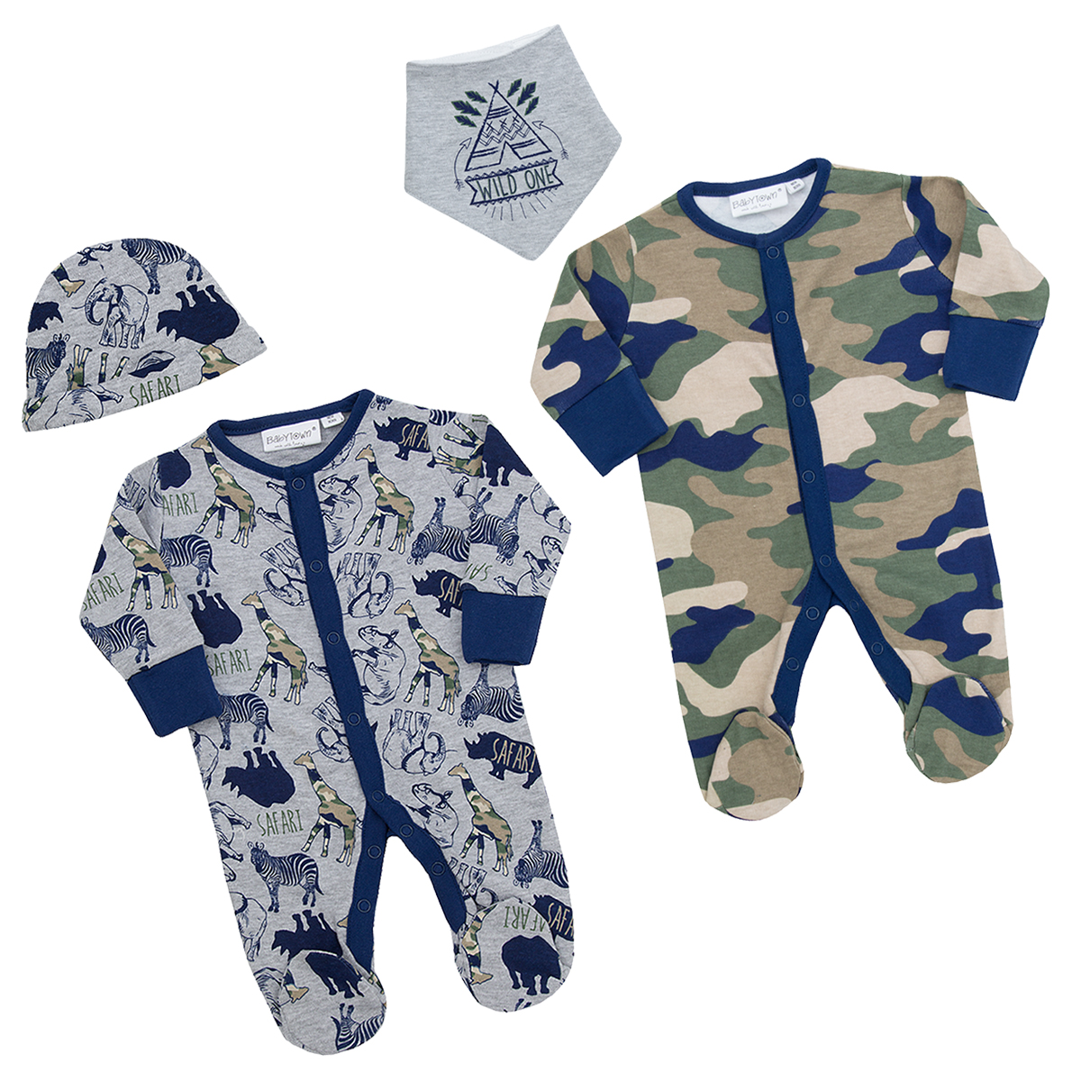 Integrated Scratch Mittens Cotton Rich All-in-One BABY TOWN Baby Boys Camo Safari Sleepsuit Newborn-9 Months