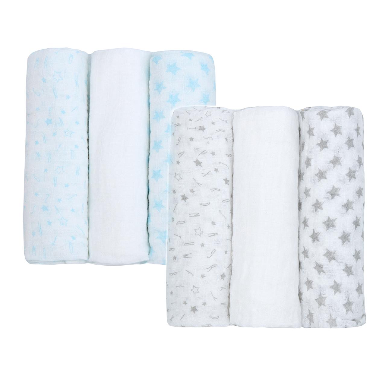 Newborn Cotton Muslin Square Burp Nappy Cloth Wipe 6-Pack Swaddle Blanket 76x76