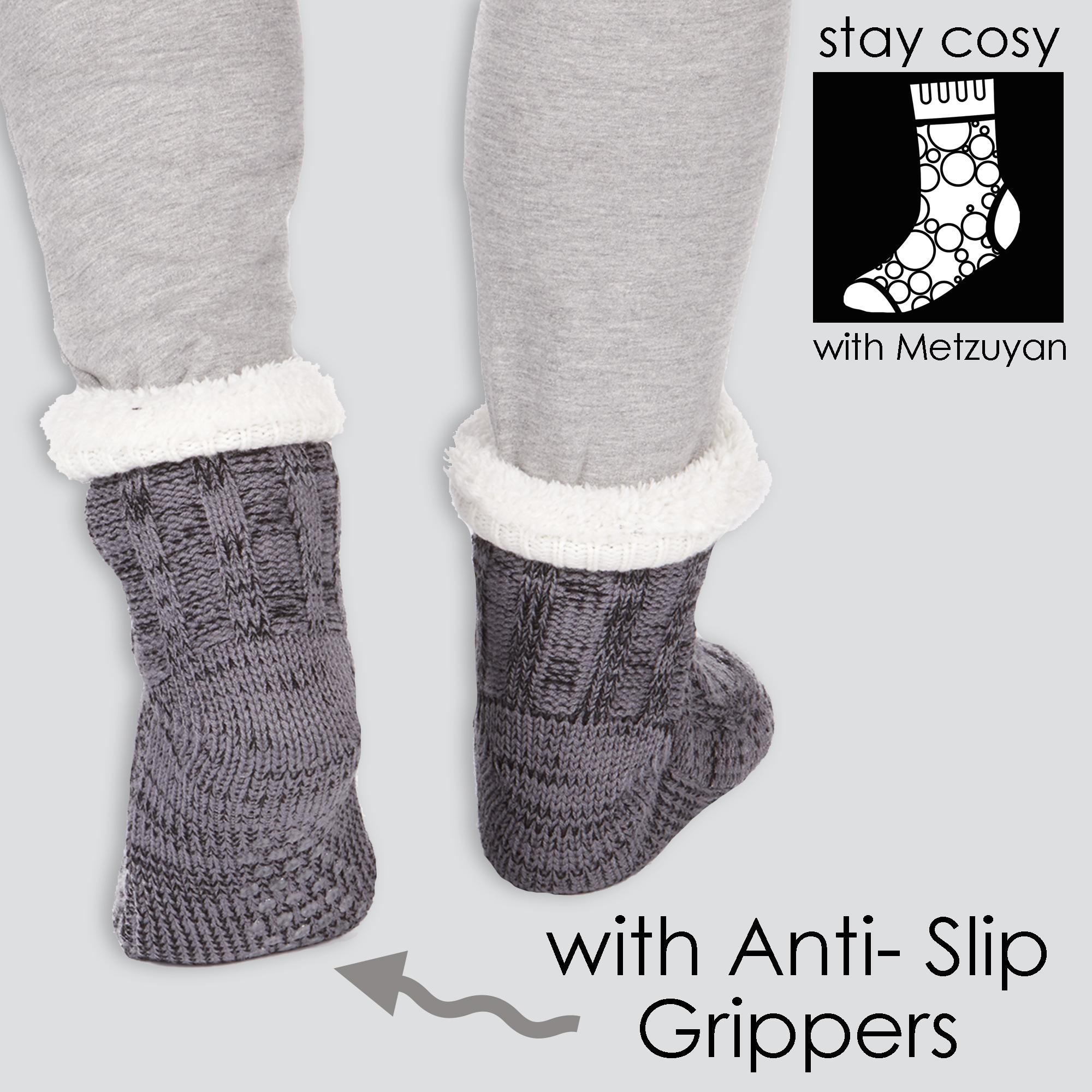 1-Pair-Mens-Grey-Chunky-Knitted-Slipper-Socks-Lounge-Thermal-Ultra-Warm-UK-6-11 thumbnail 5