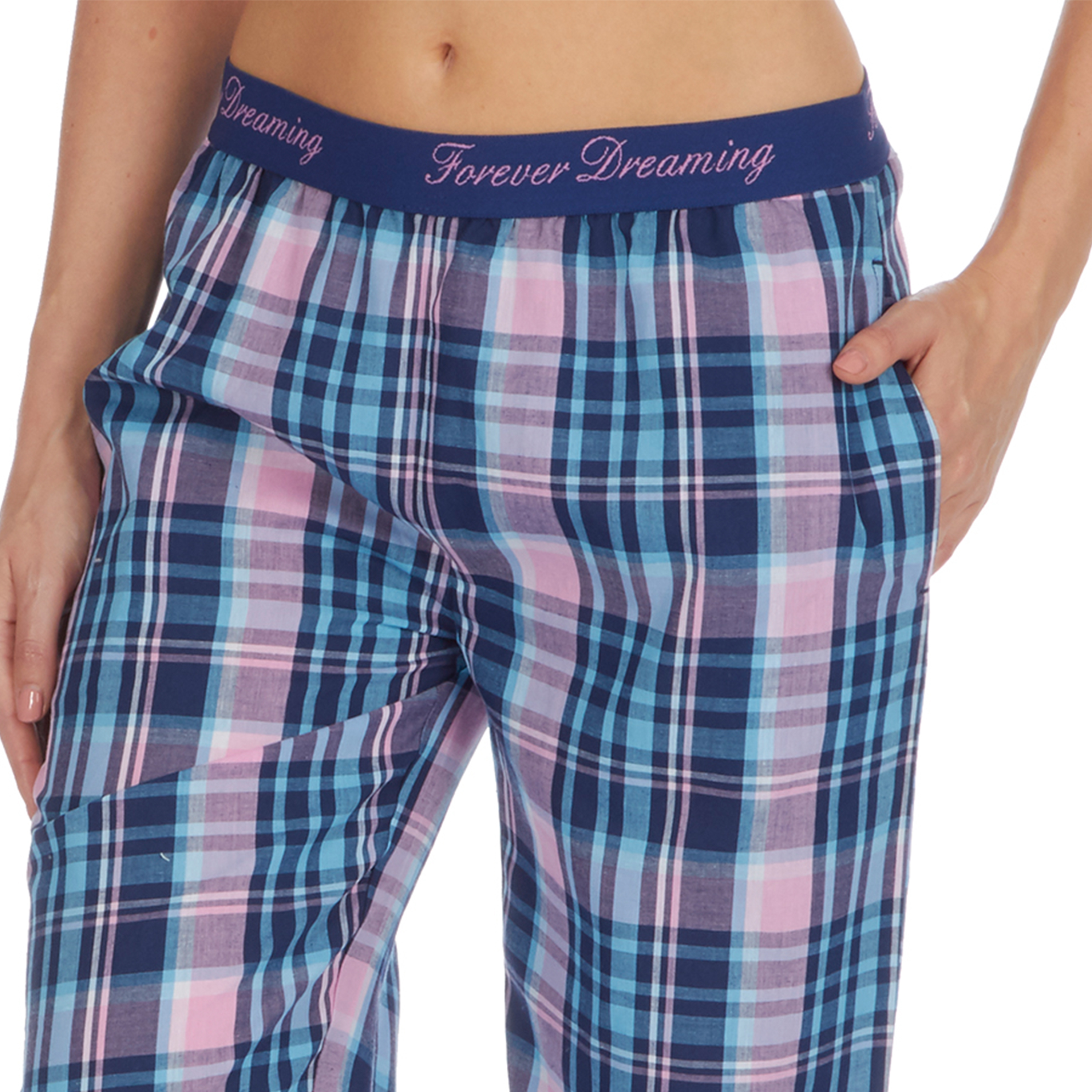 Forever Dreaming Womens Check Patterned Lounge Trousers