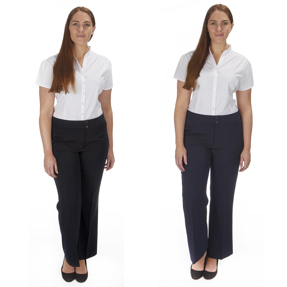 New Ladies Womens Office School Hipster Trousers Navy Grey Black Pants UK 6-18