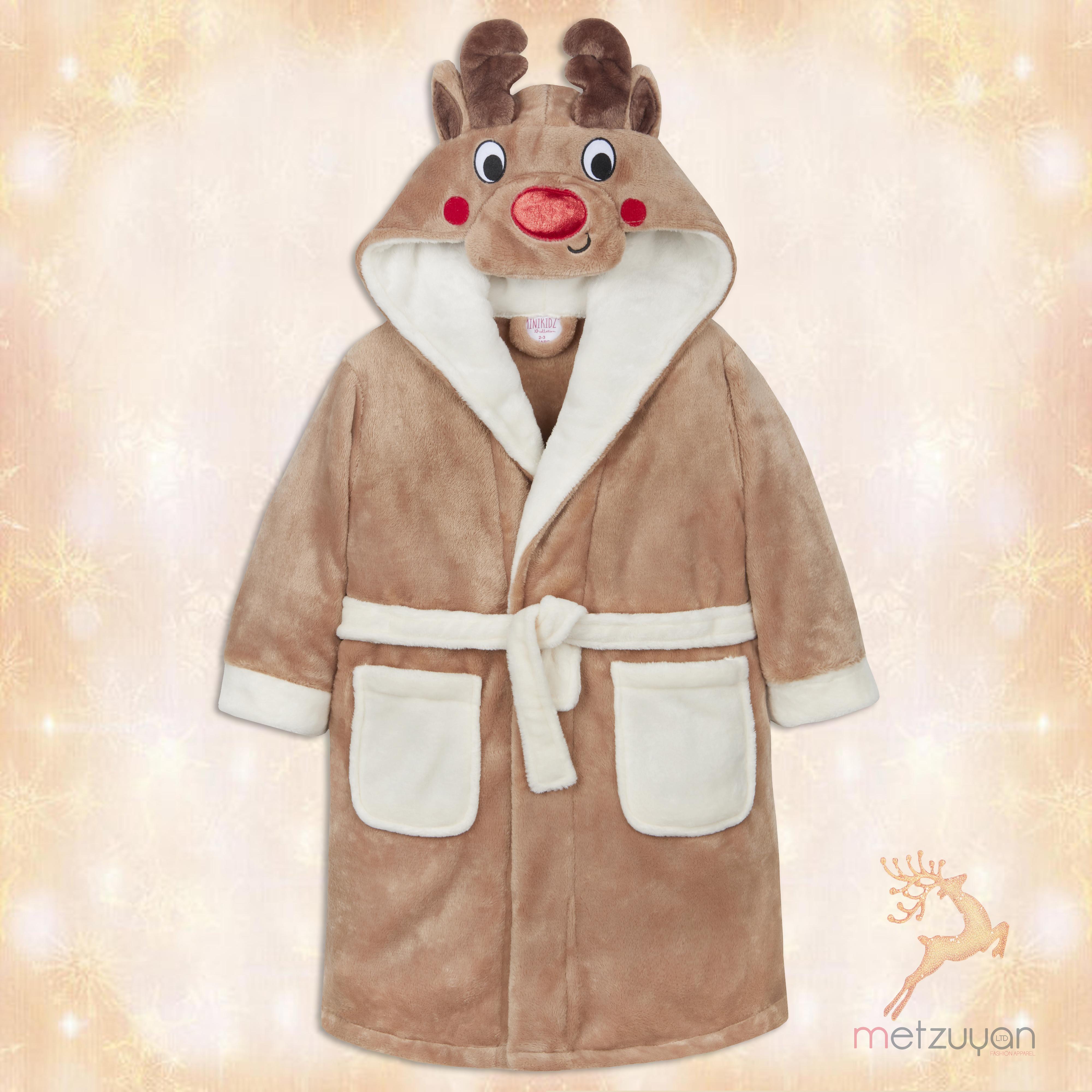 Kids Girls Luxury Novelty Fleece Dressing Gown Bath Robe Xmas Gift Size