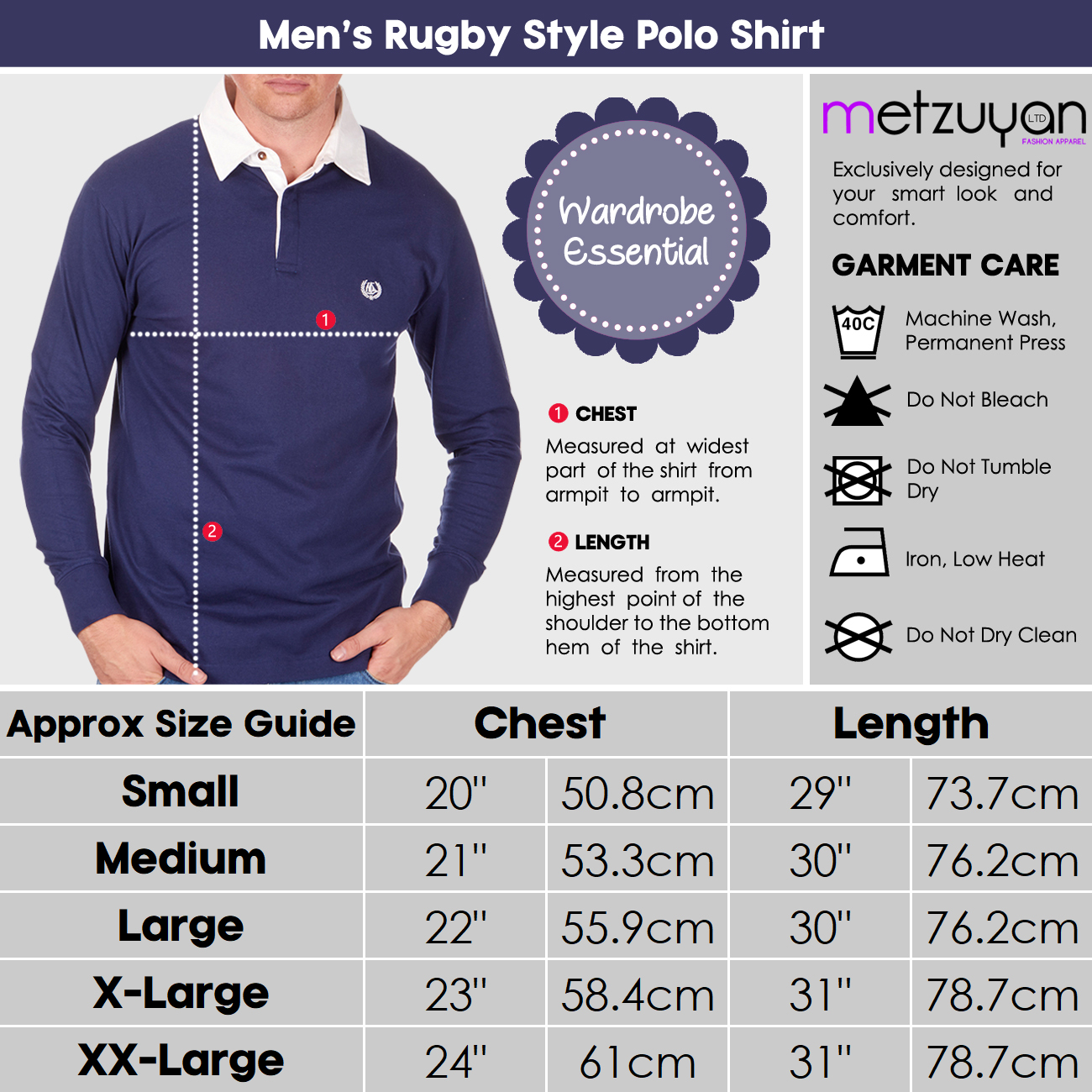 Mens-Rugby-Style-Polo-Shirt-Long-Sleeve-100-Cotton-Sports-Classic-Top-S-2XL thumbnail 3