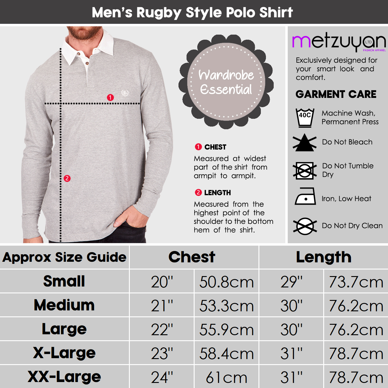 Mens-Rugby-Style-Polo-Shirt-Long-Sleeve-100-Cotton-Sports-Classic-Top-S-2XL thumbnail 5