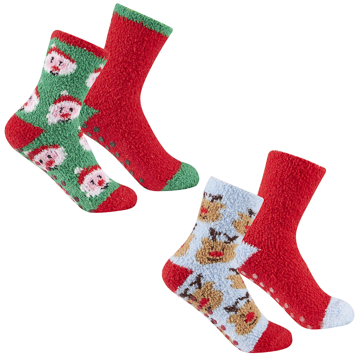 Metzuyan Kids Boys Girls Cosy Xmas Socks Anti Slip Grips