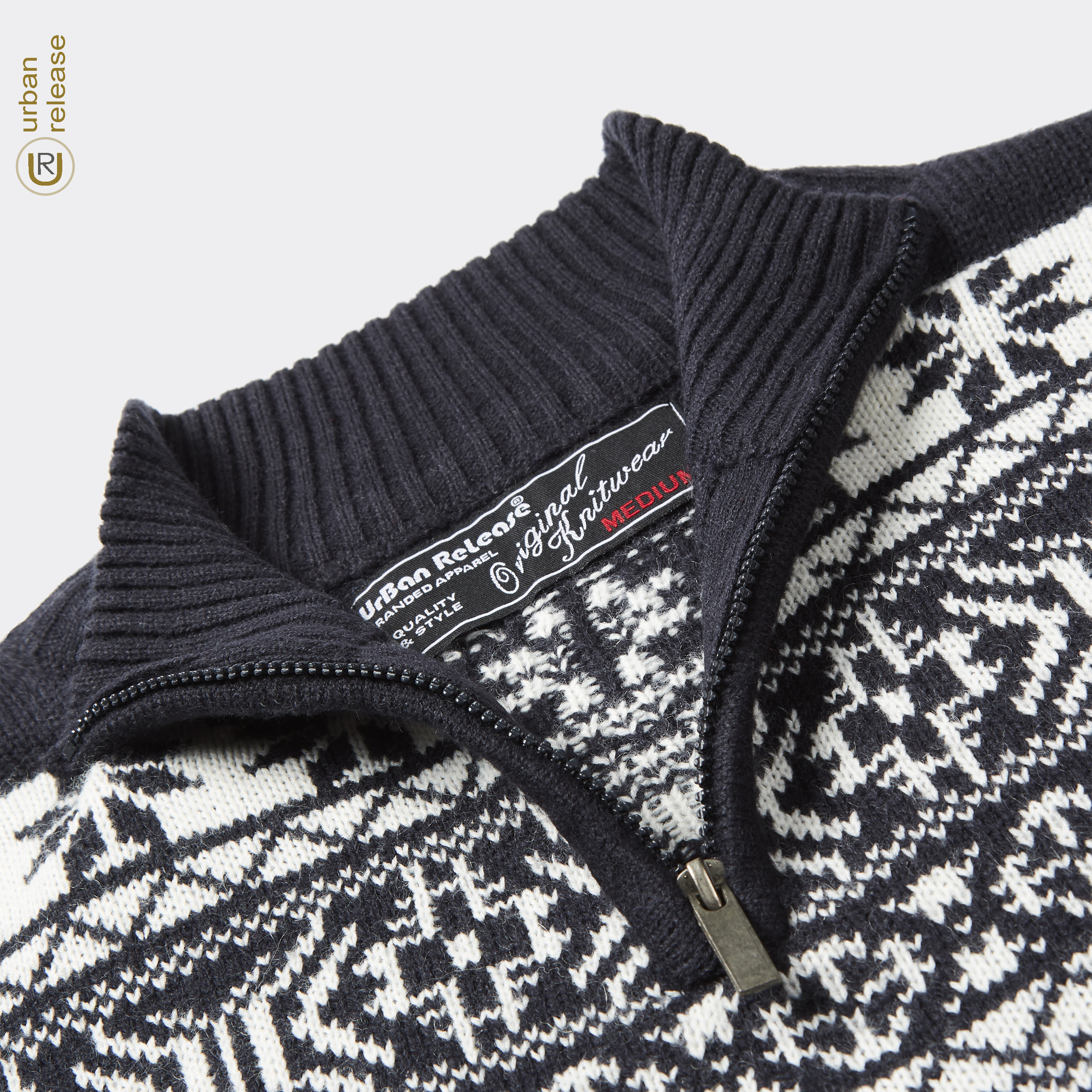 Homme-Tricot-1-4-Zip-Fermeture-Eclair-Col-Pull-Fair-Isle-Pattern-Extra-Chaud-Pull-UK miniature 8