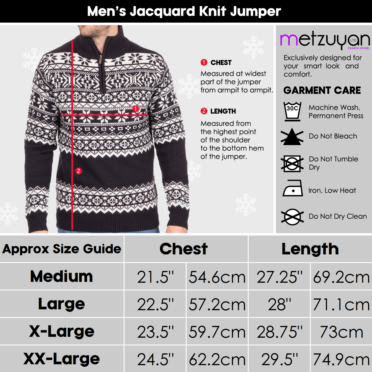 Homme-Tricot-1-4-Zip-Fermeture-Eclair-Col-Pull-Fair-Isle-Pattern-Extra-Chaud-Pull-UK miniature 11