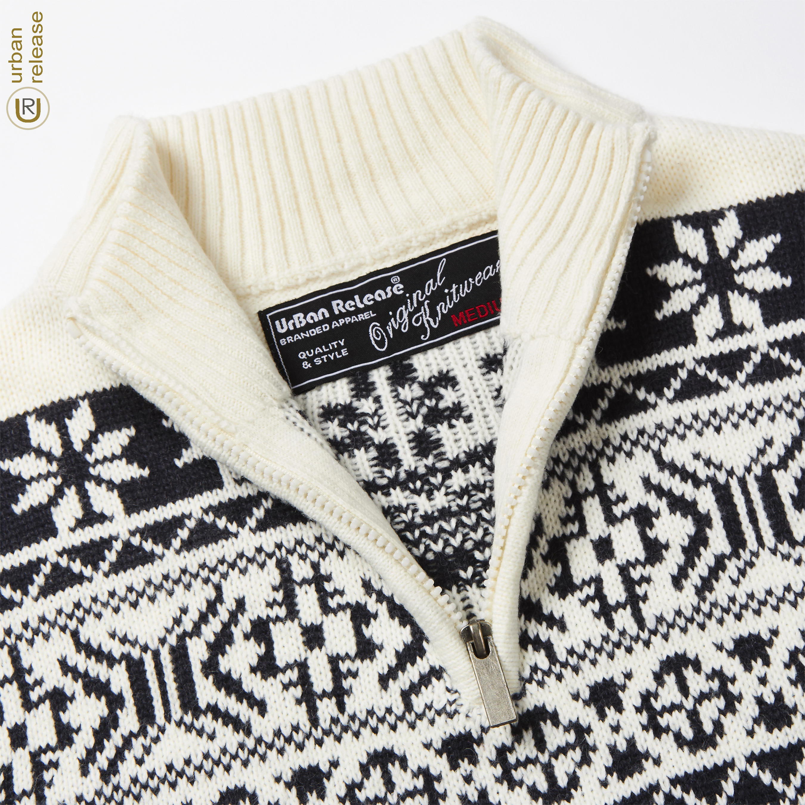Homme-Tricot-1-4-Zip-Fermeture-Eclair-Col-Pull-Fair-Isle-Pattern-Extra-Chaud-Pull-UK miniature 3