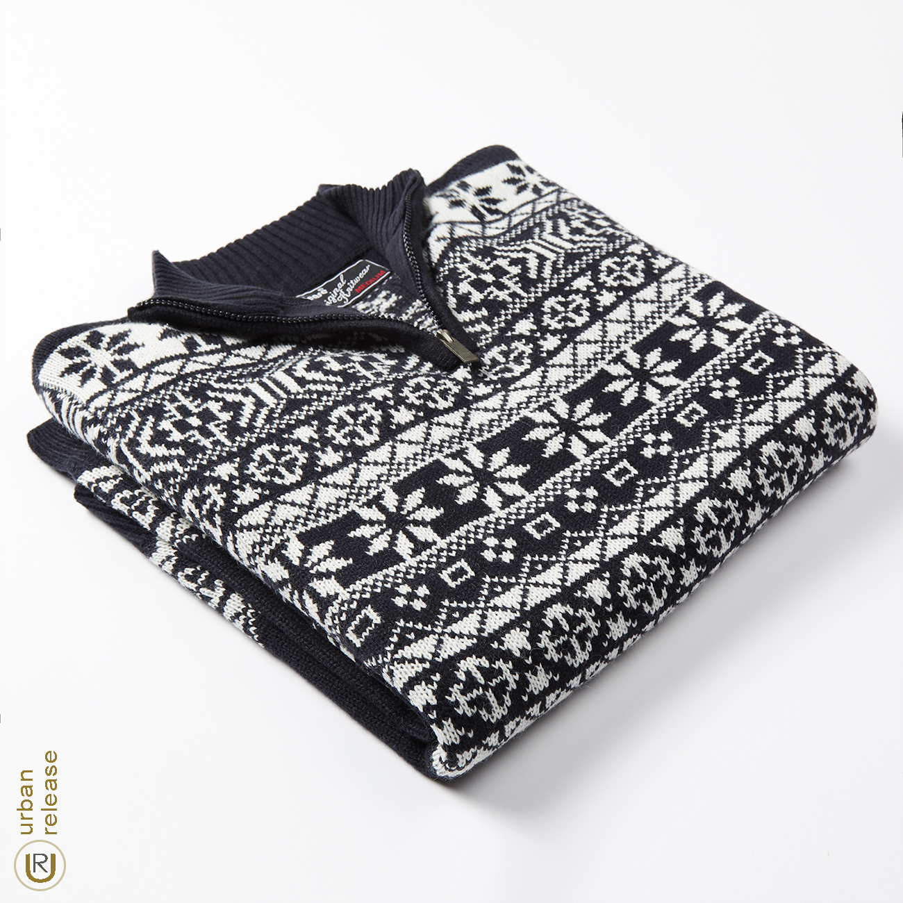 Homme-Tricot-1-4-Zip-Fermeture-Eclair-Col-Pull-Fair-Isle-Pattern-Extra-Chaud-Pull-UK miniature 10